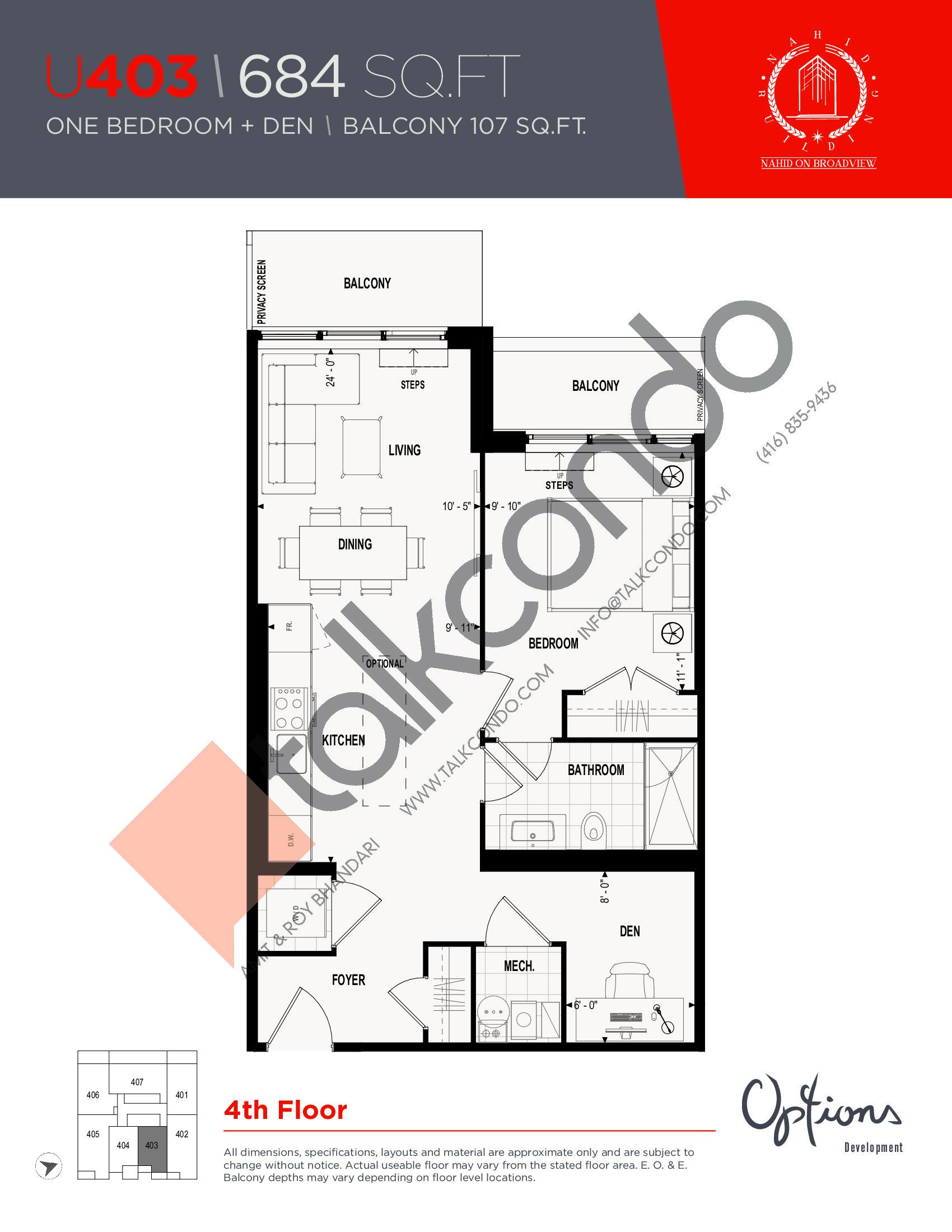 U403 Floor Plan at Nahid on Broadview Condos - 684 sq.ft