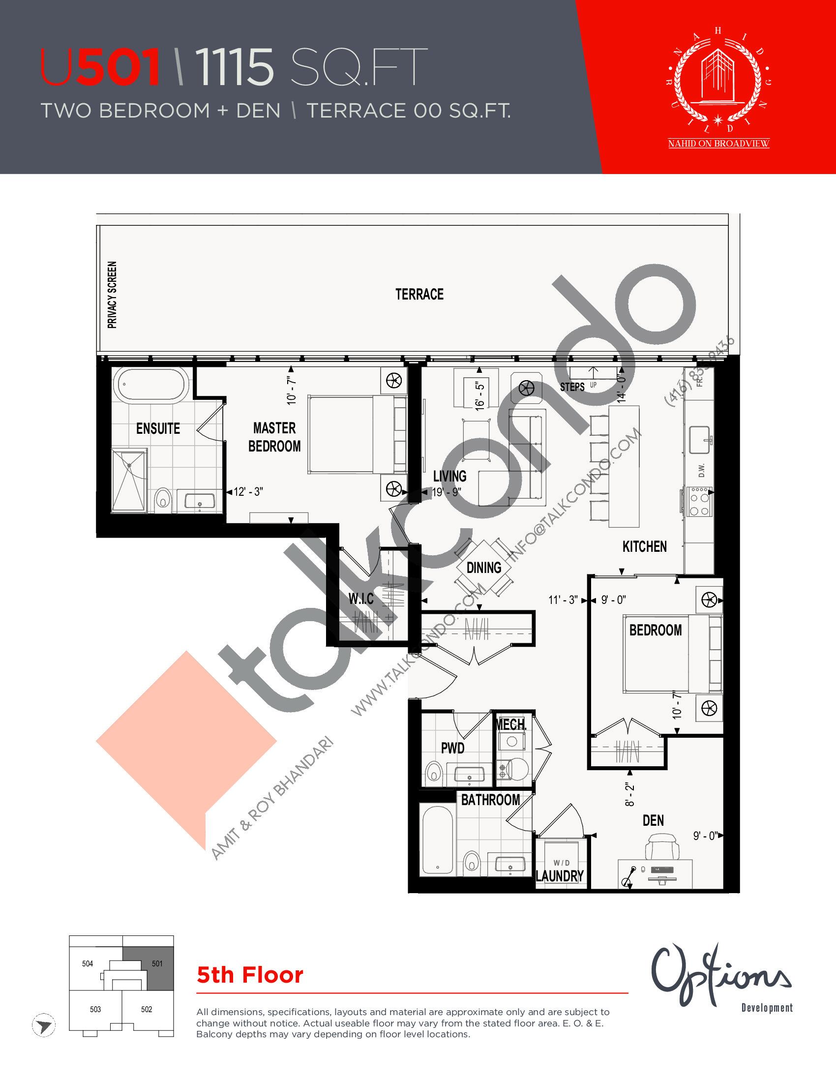 U501 Floor Plan at Nahid on Broadview Condos - 1115 sq.ft