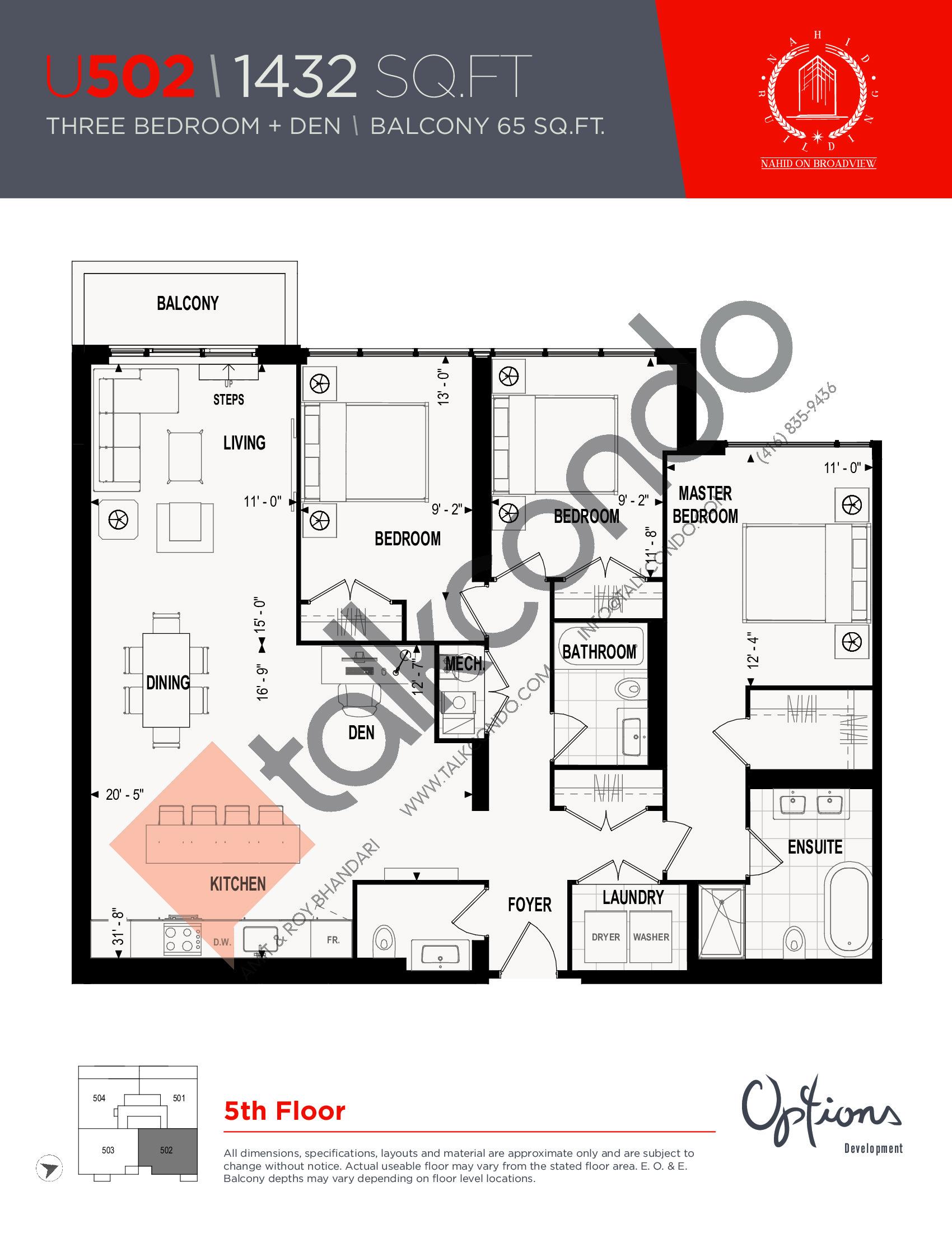 U502 Floor Plan at Nahid on Broadview Condos - 1432 sq.ft