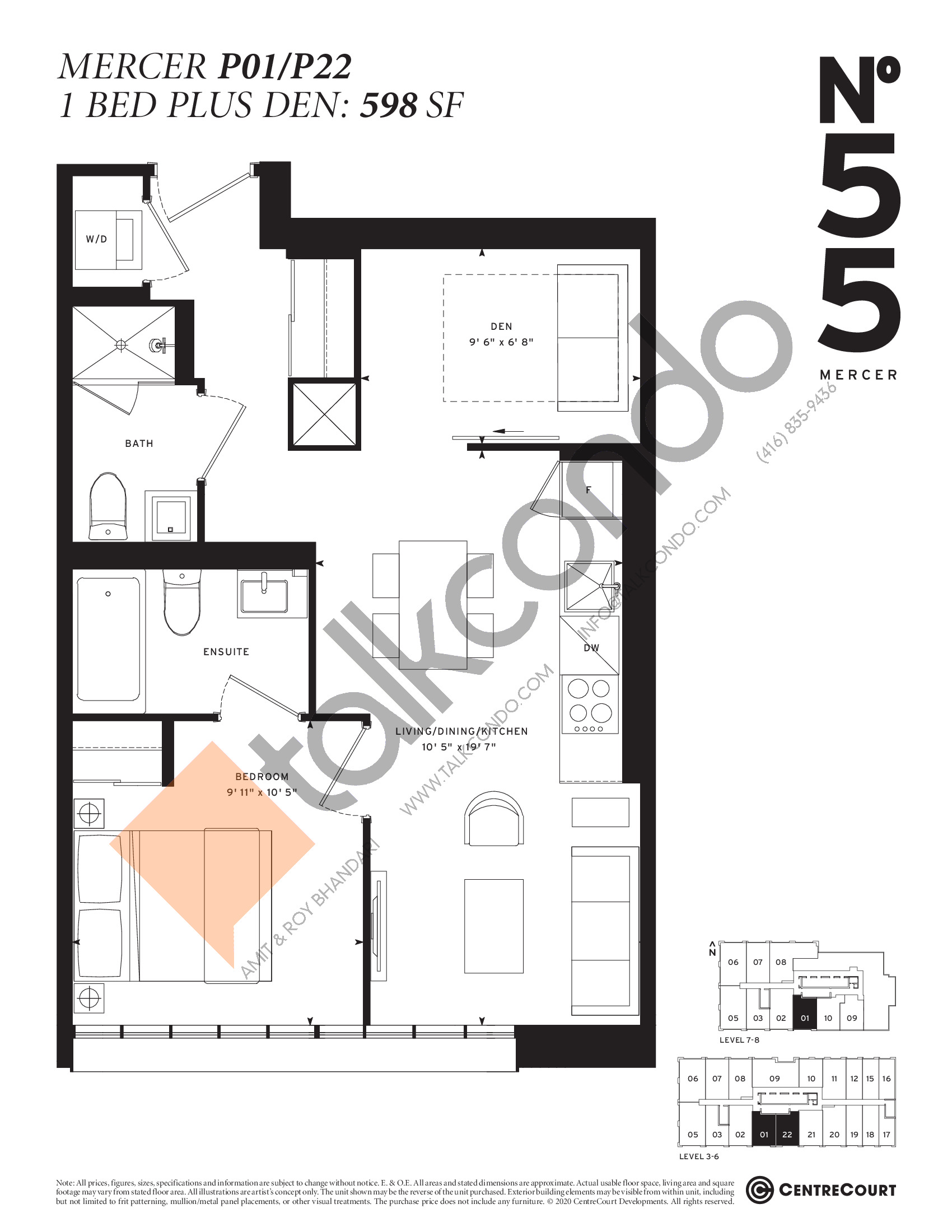 Mercer P01/P22 Floor Plan at No. 55 Mercer Condos - 598 sq.ft