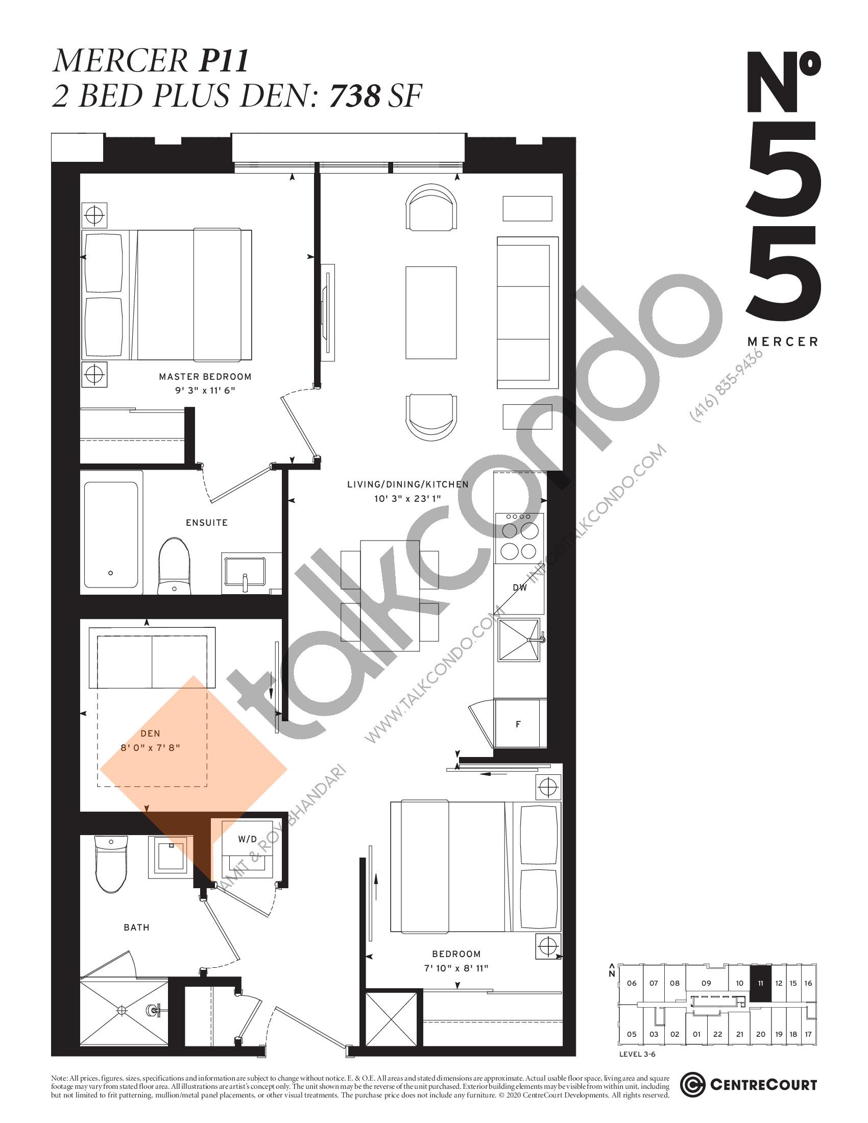 Mercer P11 Floor Plan at No. 55 Mercer Condos - 738 sq.ft