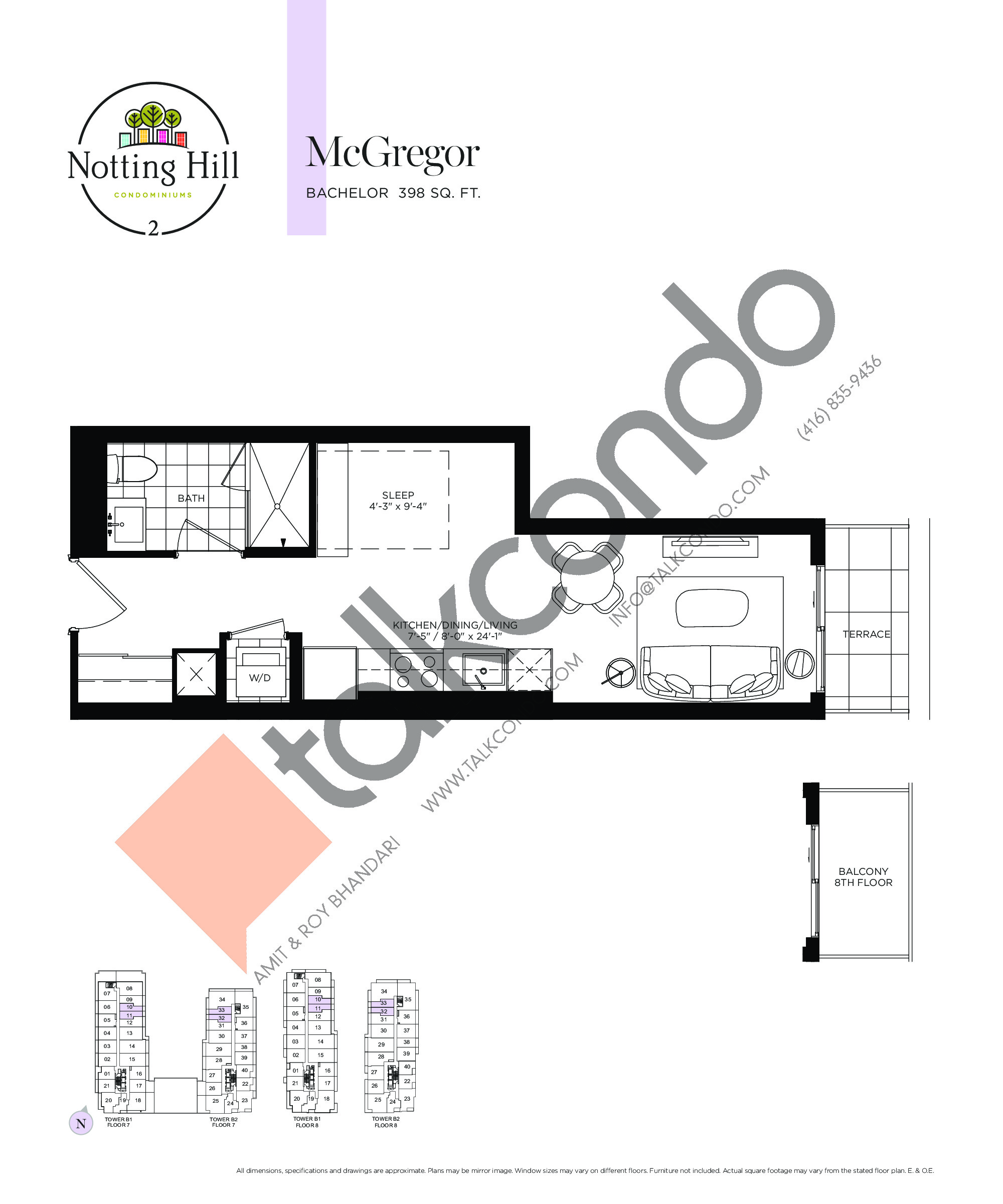 McGregor Floor Plan at Notting Hill Phase 3 Condos - 398 sq.ft