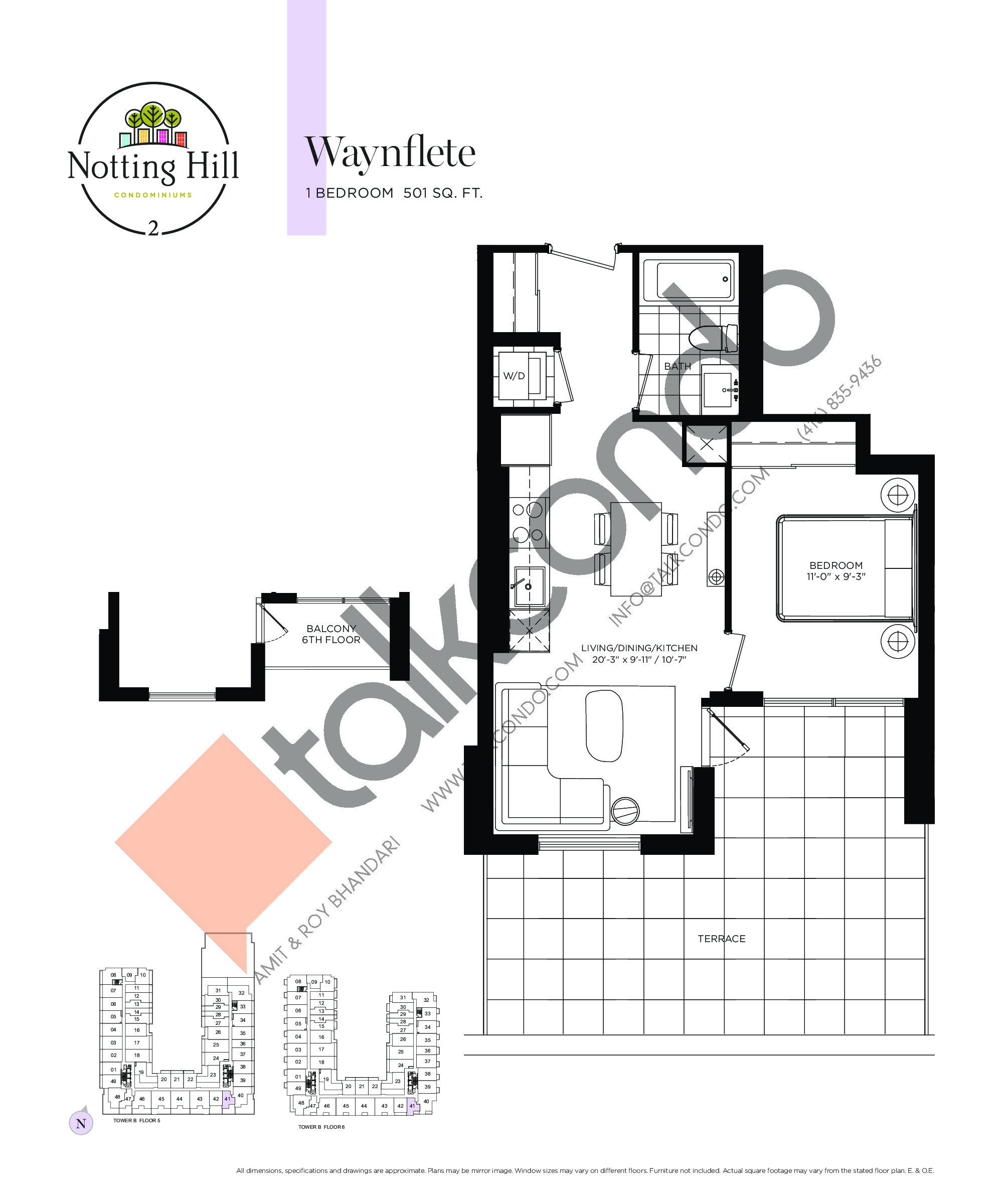 Waynflete Floor Plan at Notting Hill Phase 3 Condos - 501 sq.ft