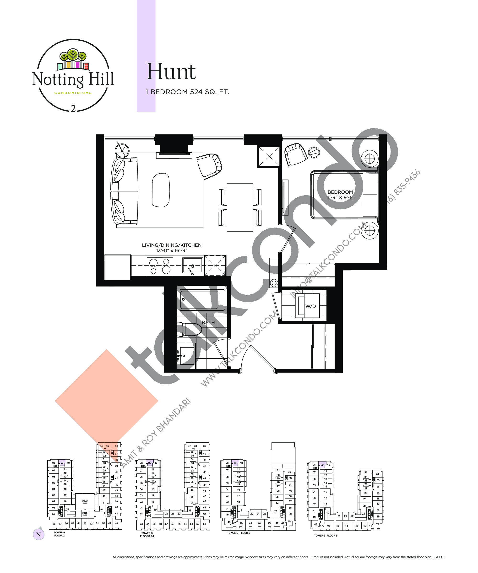 Hunt Floor Plan at Notting Hill Phase 3 Condos - 524 sq.ft