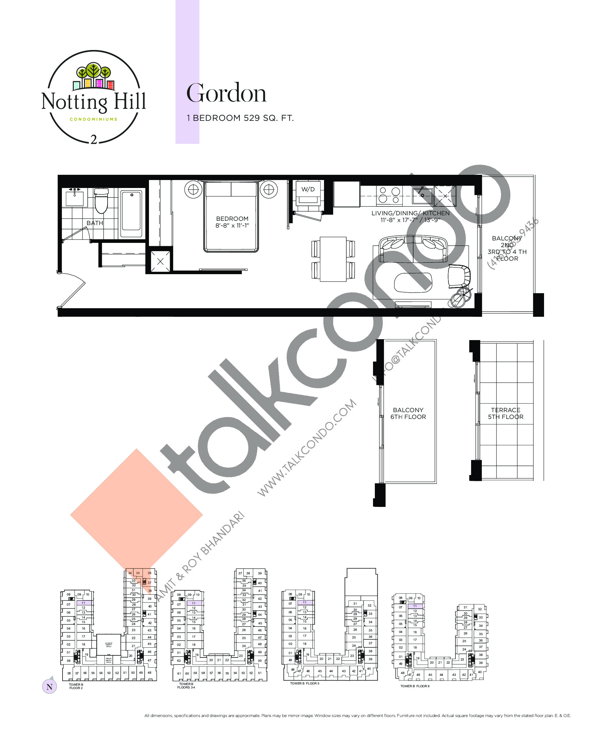 Gordon Floor Plan at Notting Hill Phase 3 Condos - 529 sq.ft