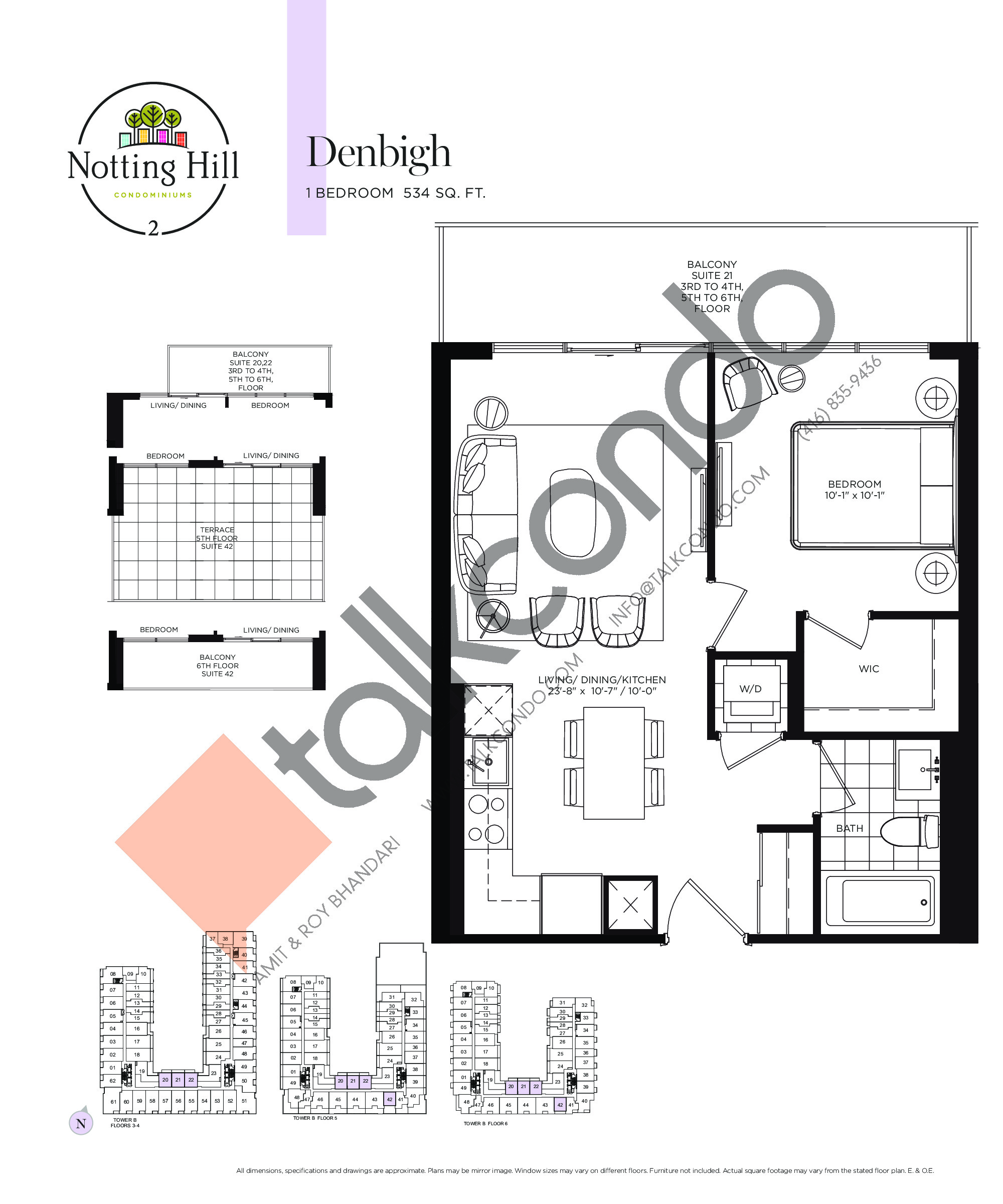 Denbigh Floor Plan at Notting Hill Phase 3 Condos - 534 sq.ft