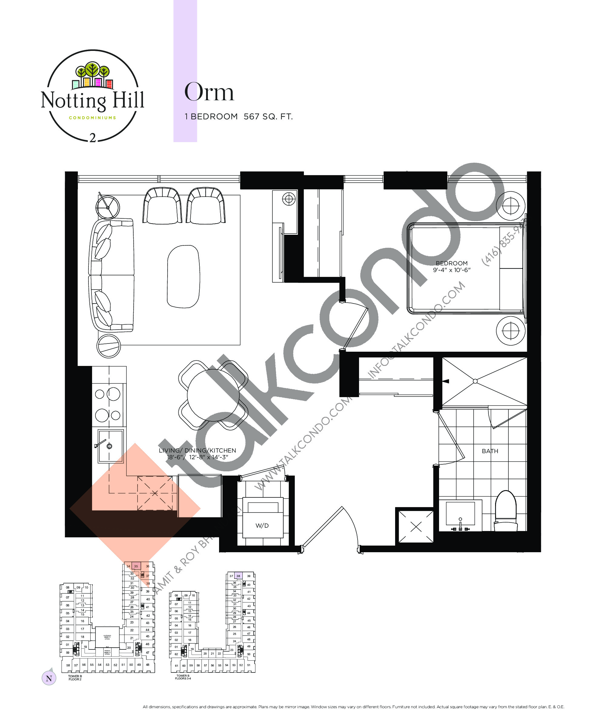 Orm Floor Plan at Notting Hill Phase 3 Condos - 567 sq.ft