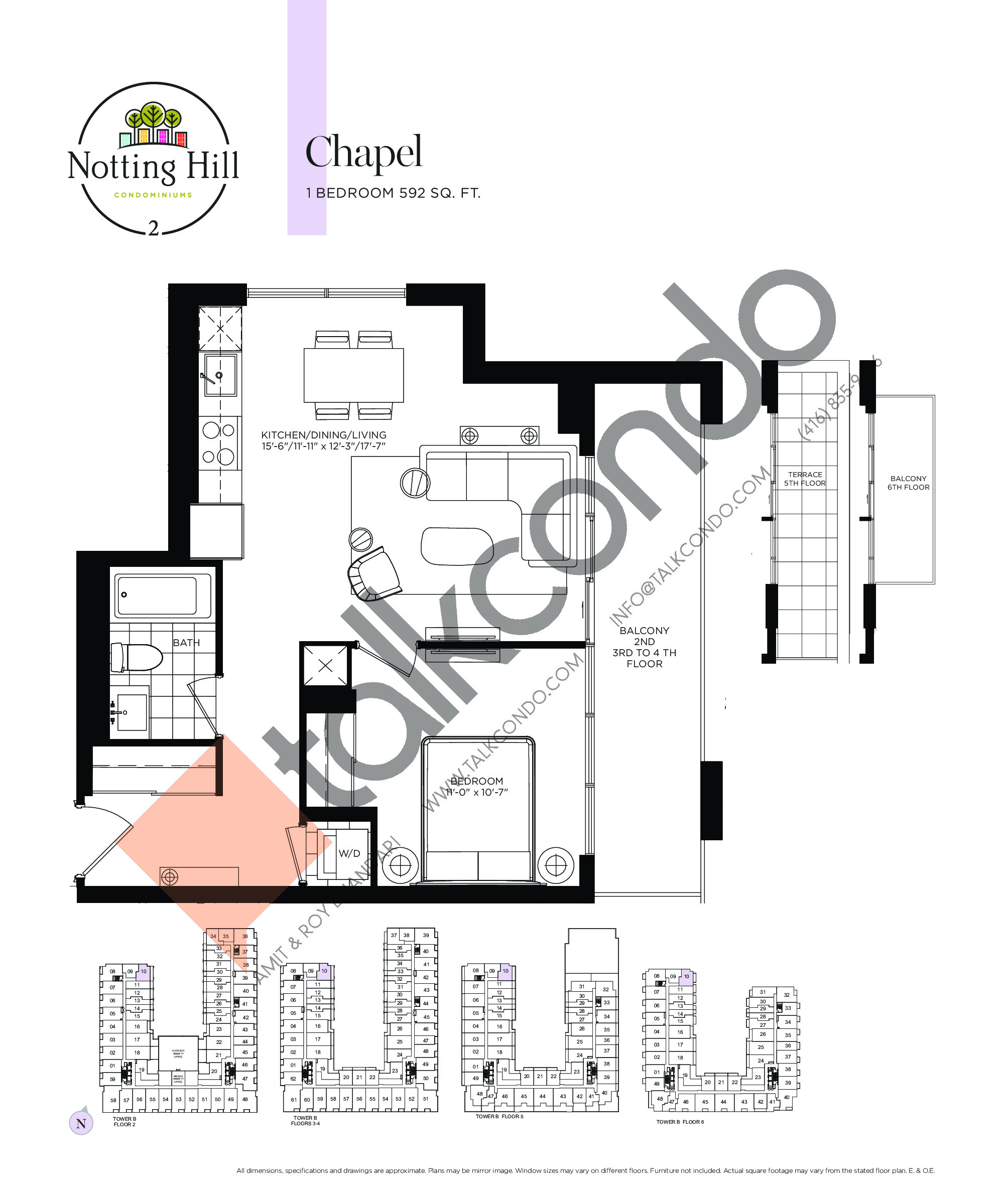 Chapel Floor Plan at Notting Hill Phase 3 Condos - 592 sq.ft