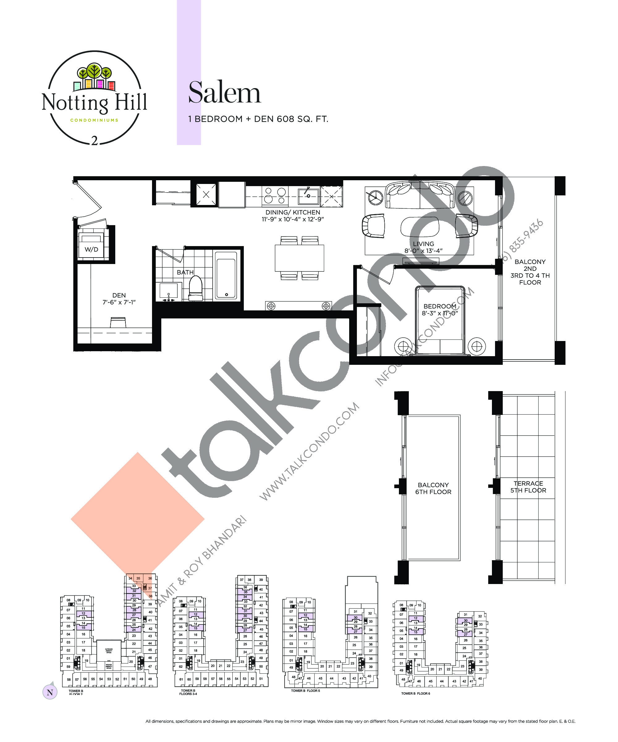 Salem Floor Plan at Notting Hill Phase 3 Condos - 608 sq.ft