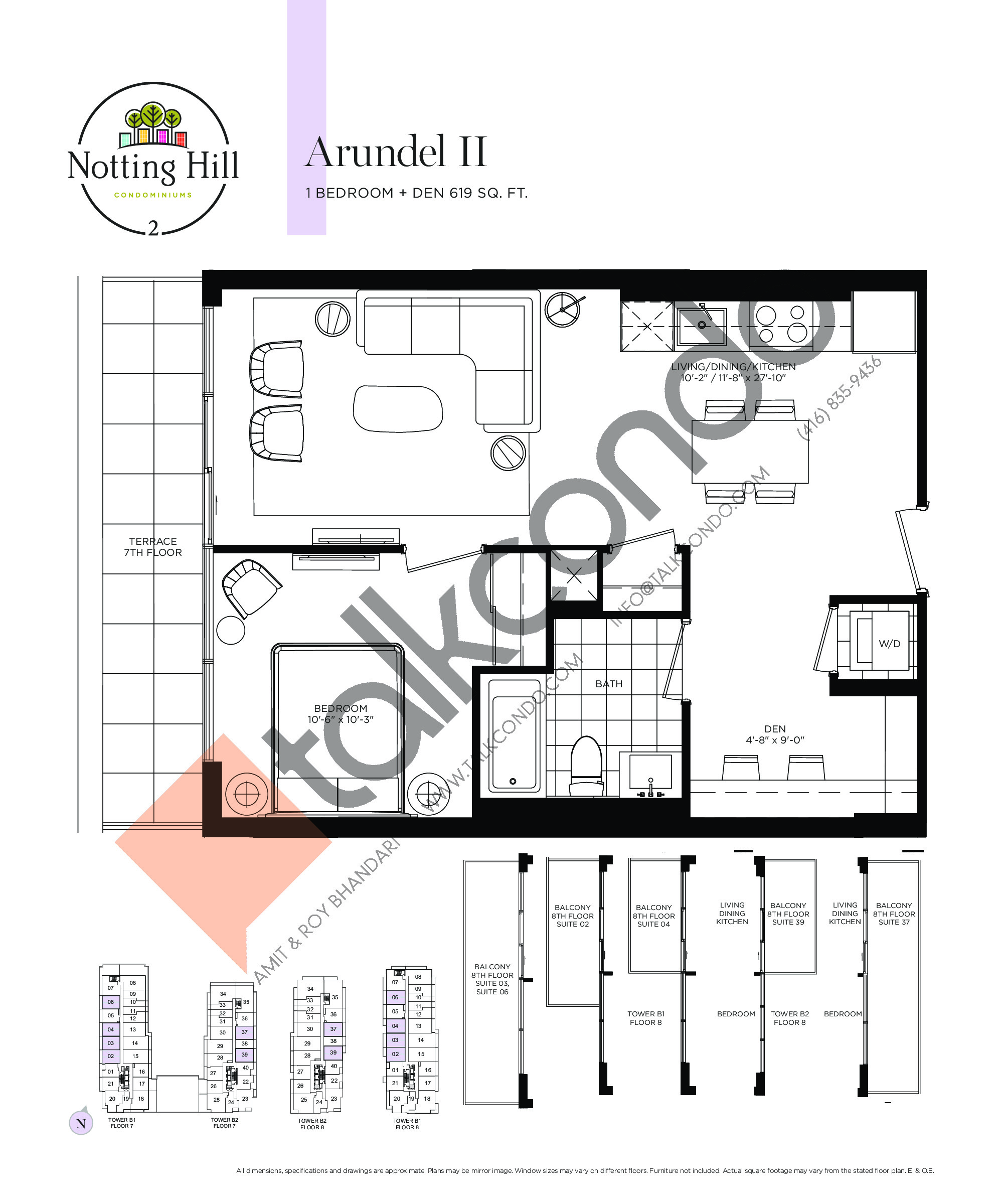 Arundel II Floor Plan at Notting Hill Phase 3 Condos - 619 sq.ft