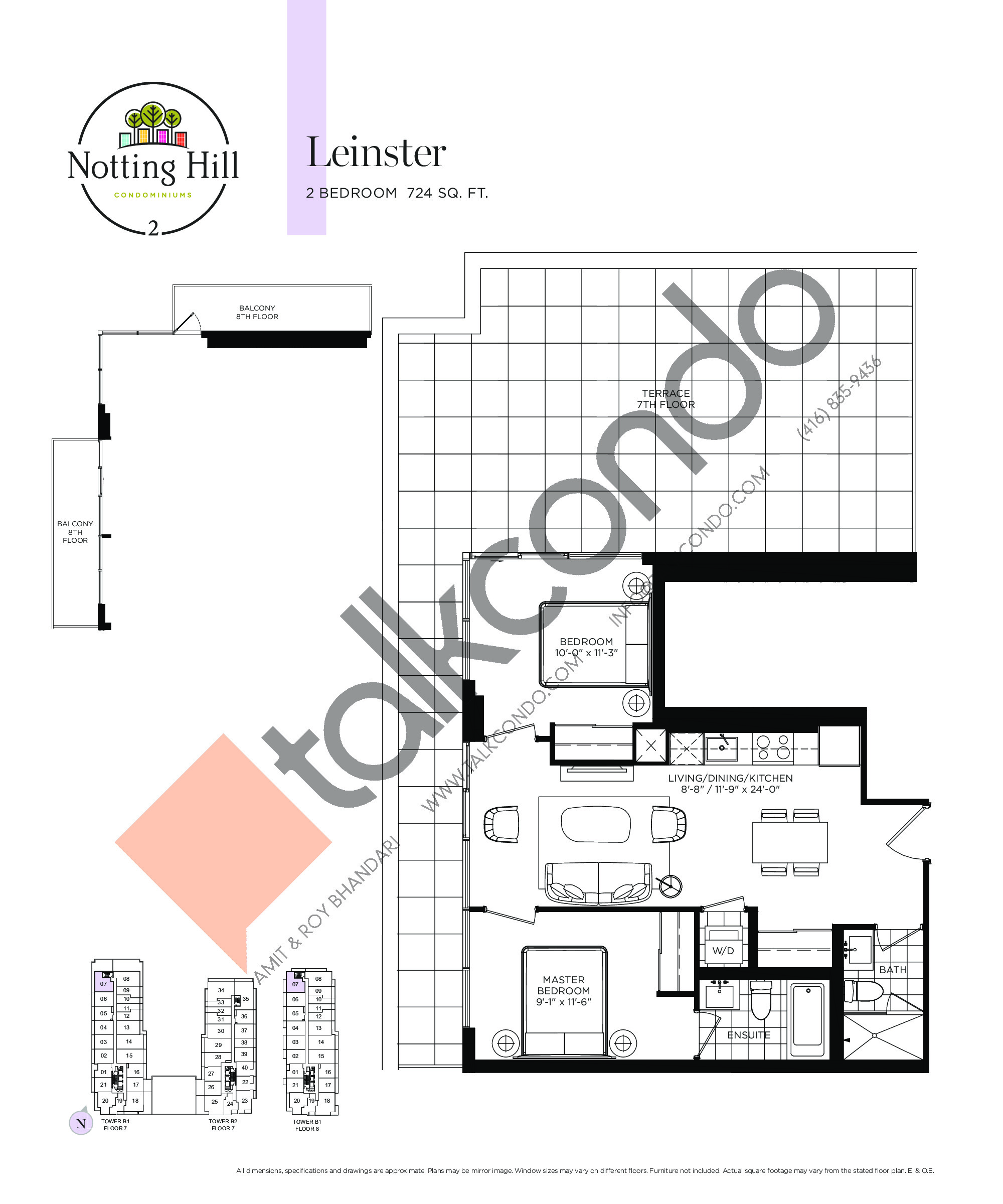 Leinster Floor Plan at Notting Hill Phase 3 Condos - 724 sq.ft