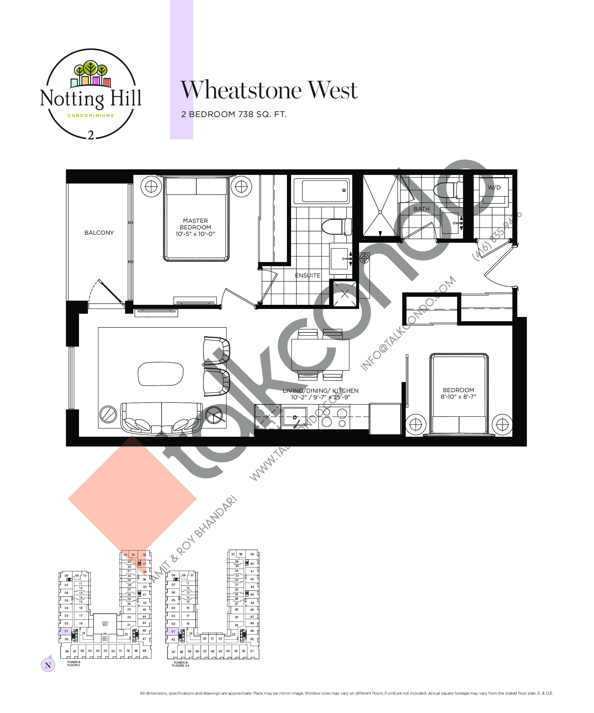 Wheatstone West Floor Plan at Notting Hill Phase 3 Condos - 738 sq.ft
