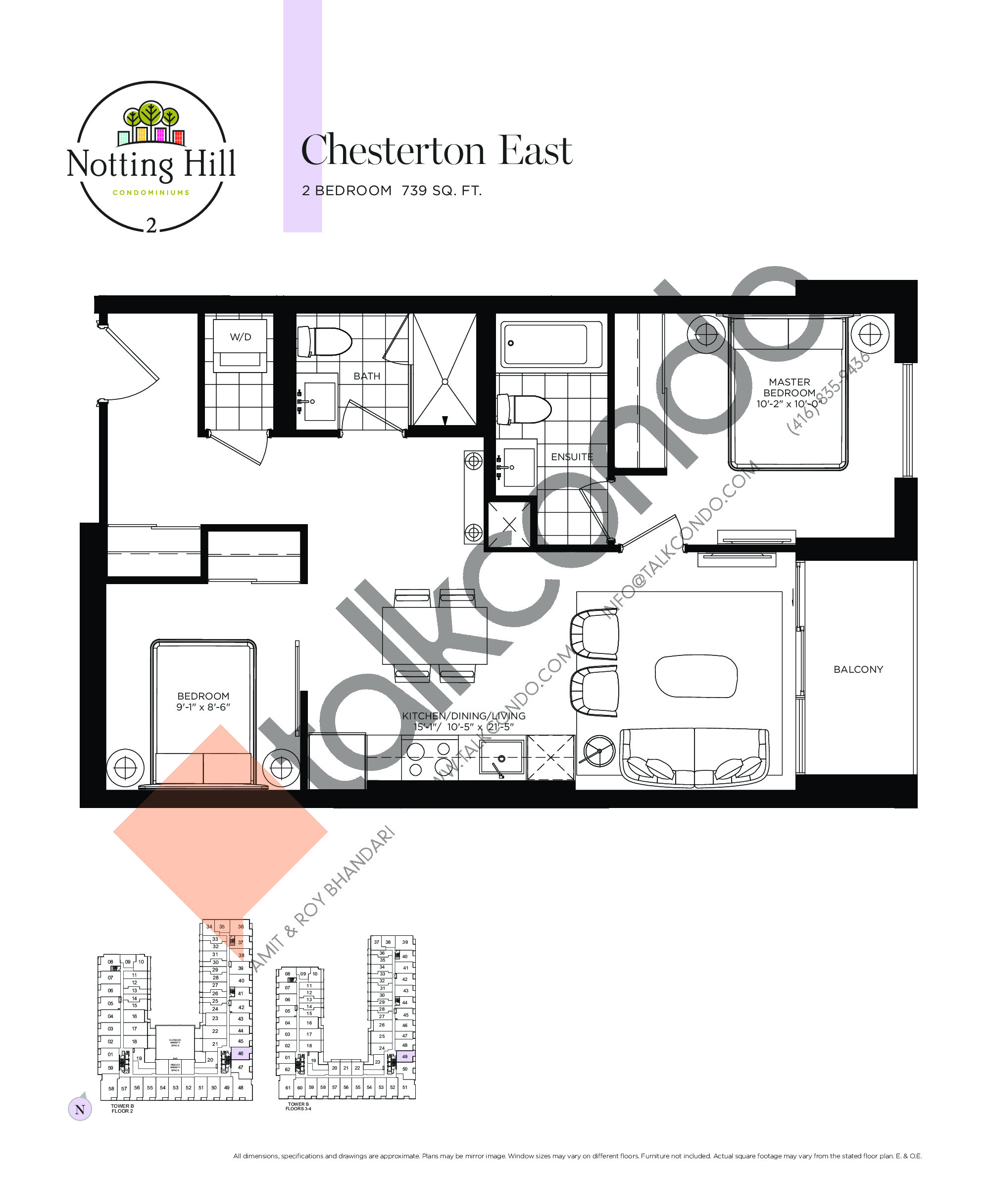 Chesterton East Floor Plan at Notting Hill Phase 3 Condos - 739 sq.ft