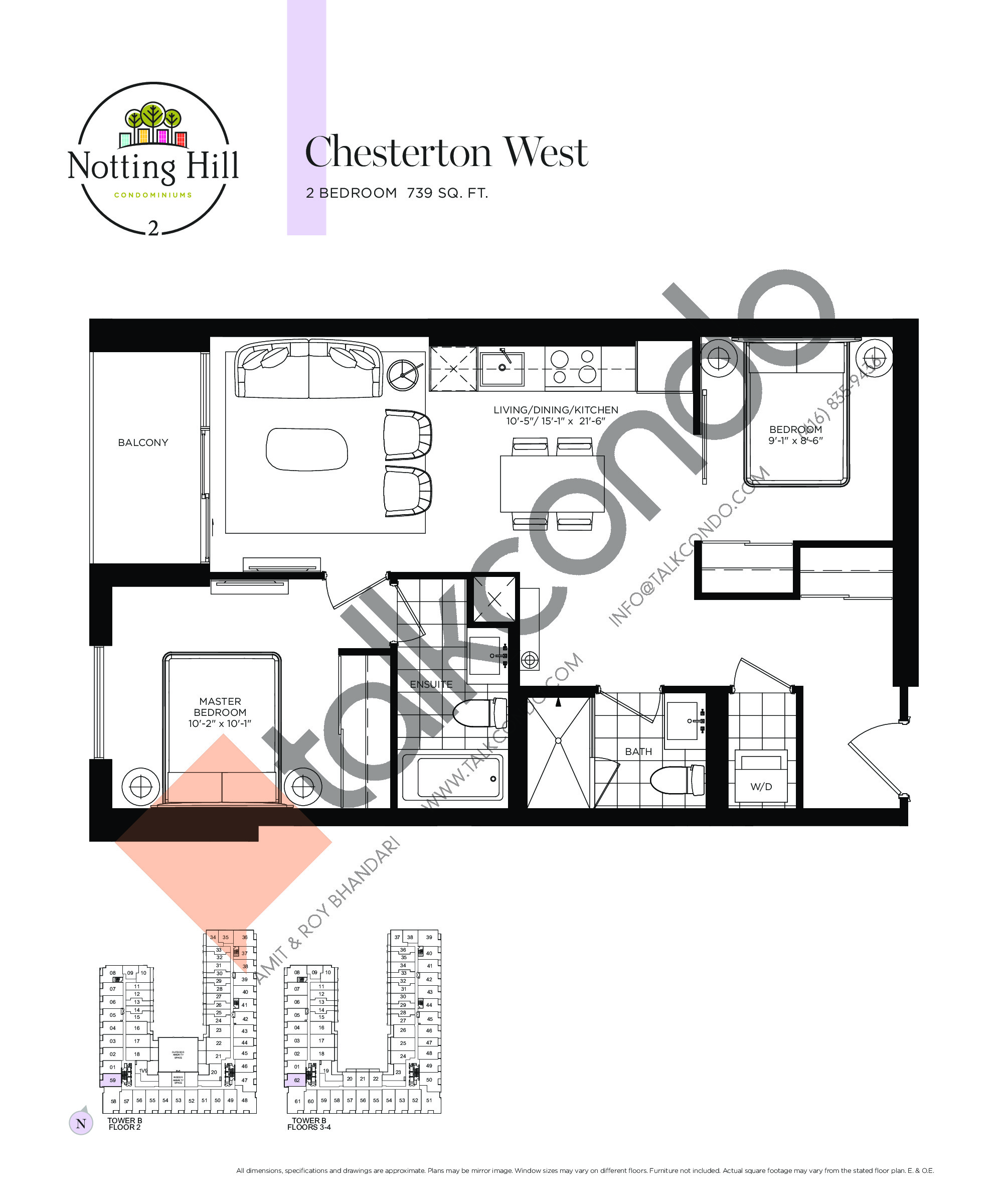 Chesterton West Floor Plan at Notting Hill Phase 3 Condos - 739 sq.ft