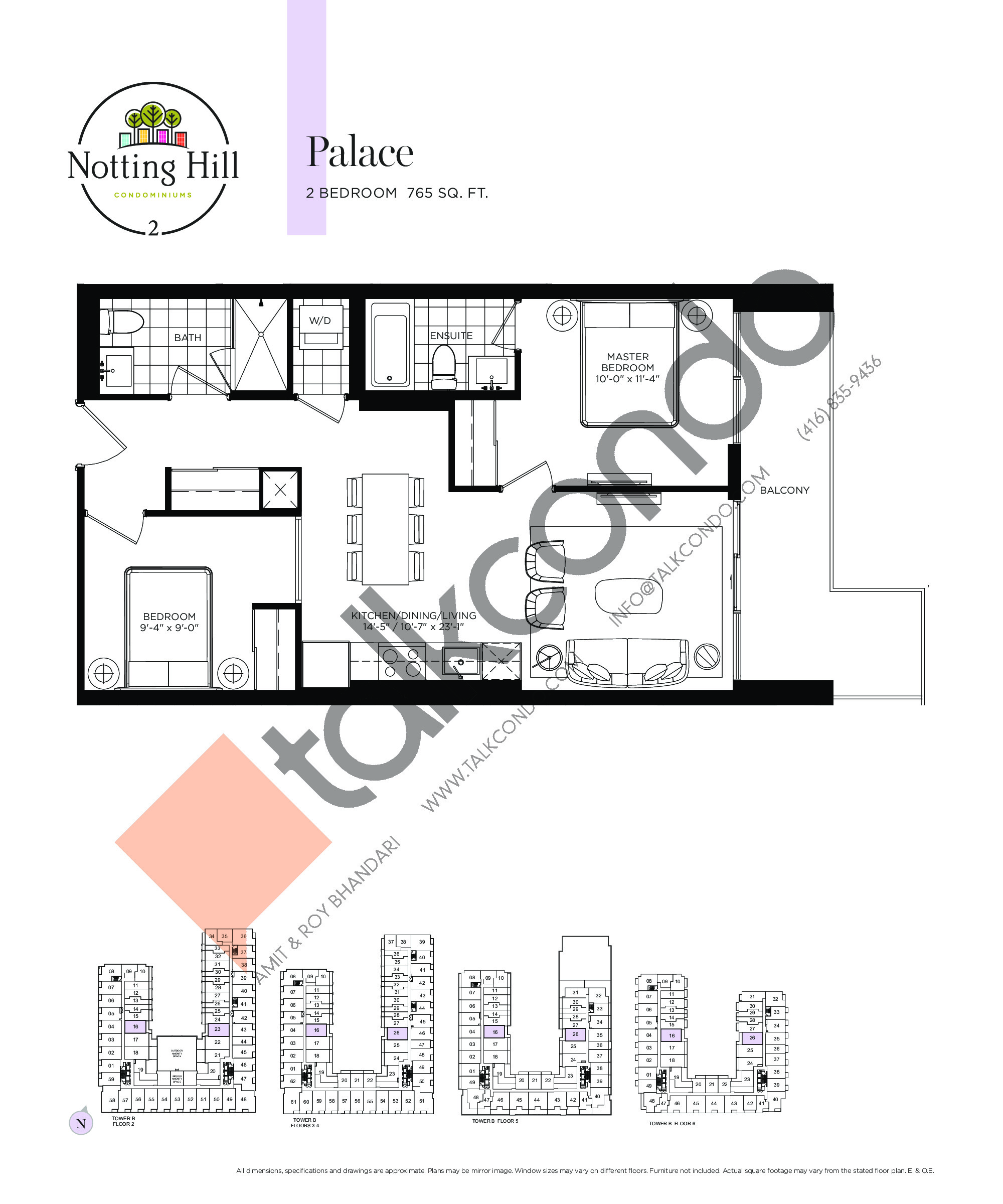 Palace Floor Plan at Notting Hill Phase 3 Condos - 765 sq.ft