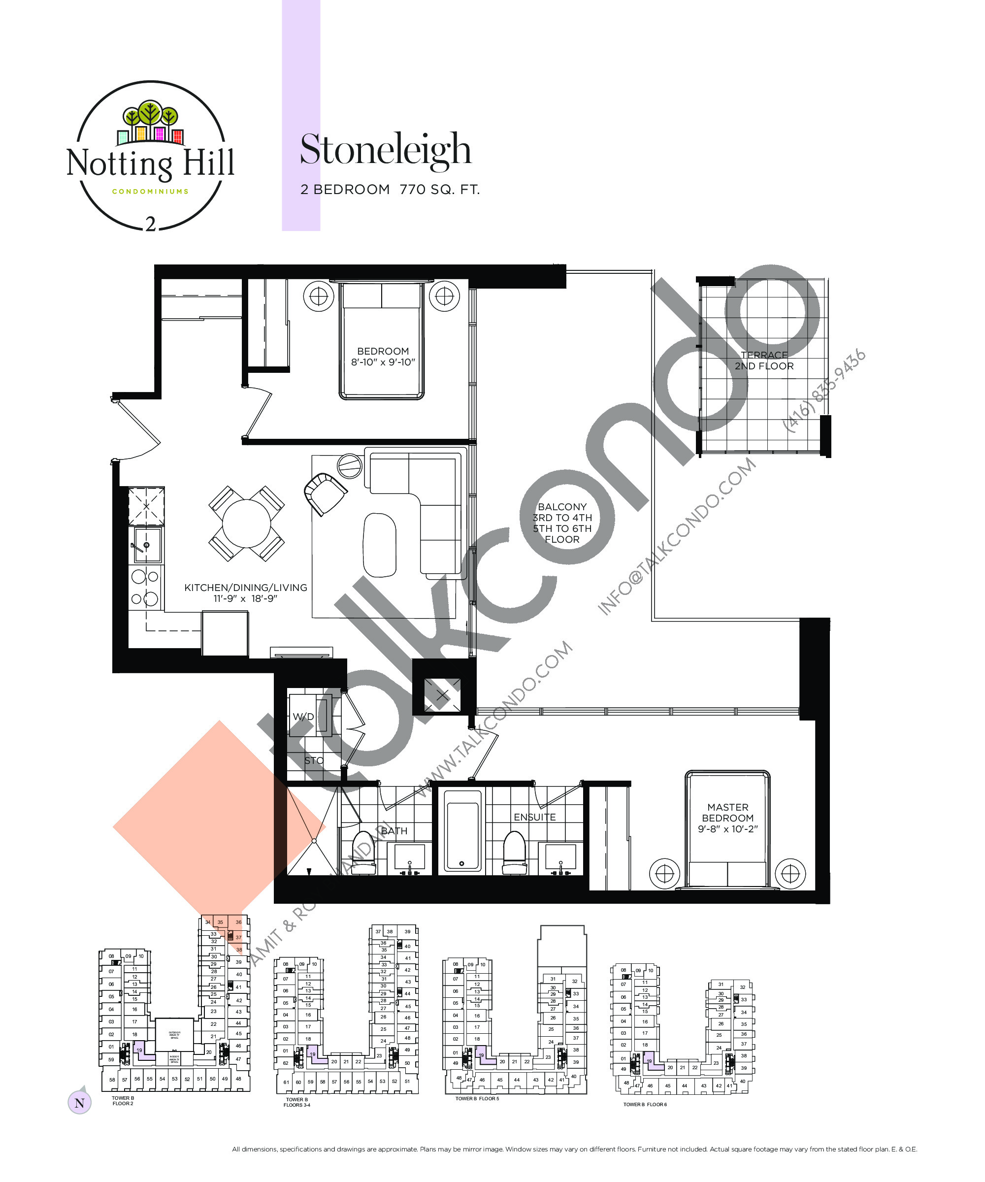 Stoneleigh Floor Plan at Notting Hill Phase 3 Condos - 770 sq.ft