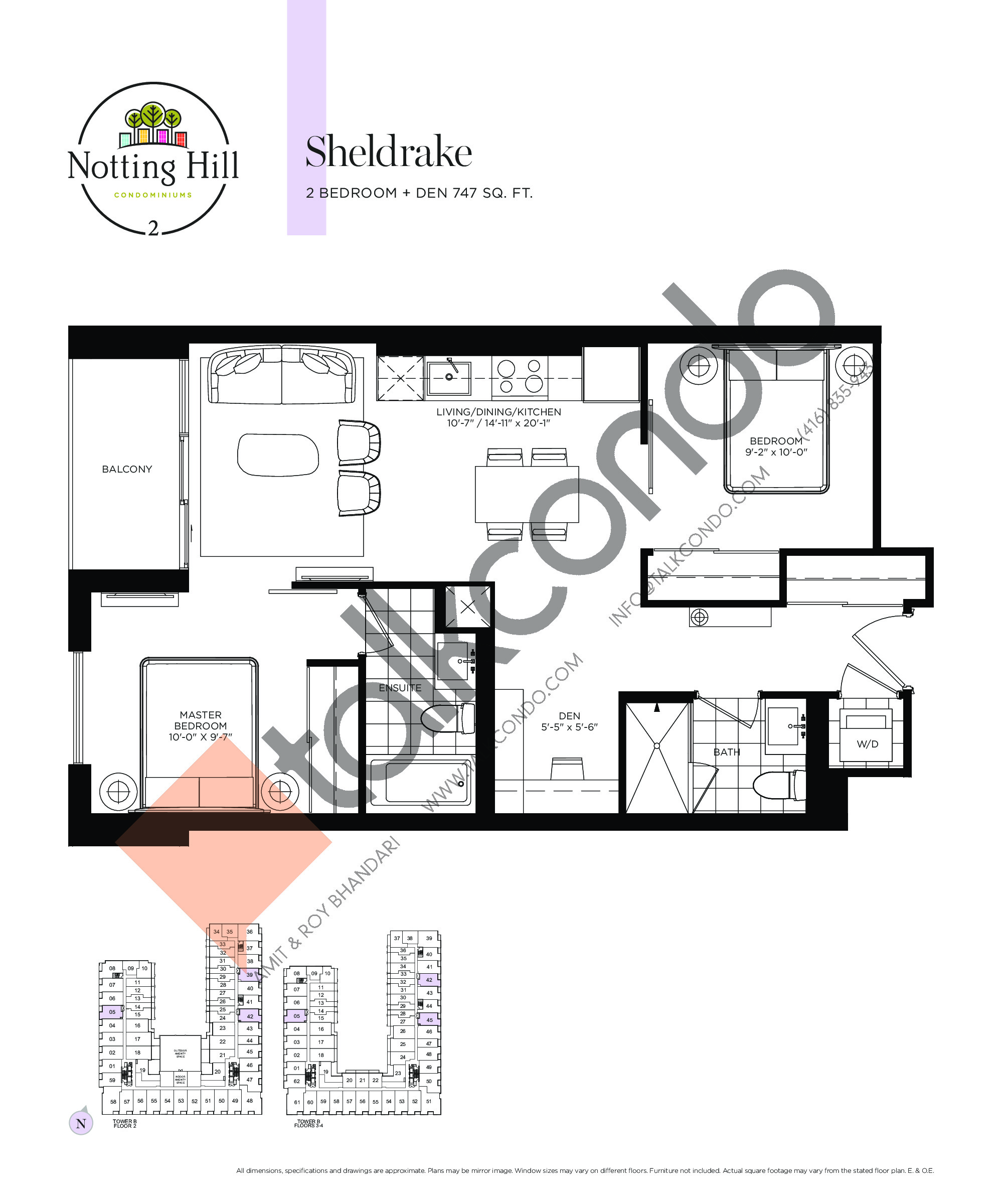 Sheldrake Floor Plan at Notting Hill Phase 3 Condos - 747 sq.ft