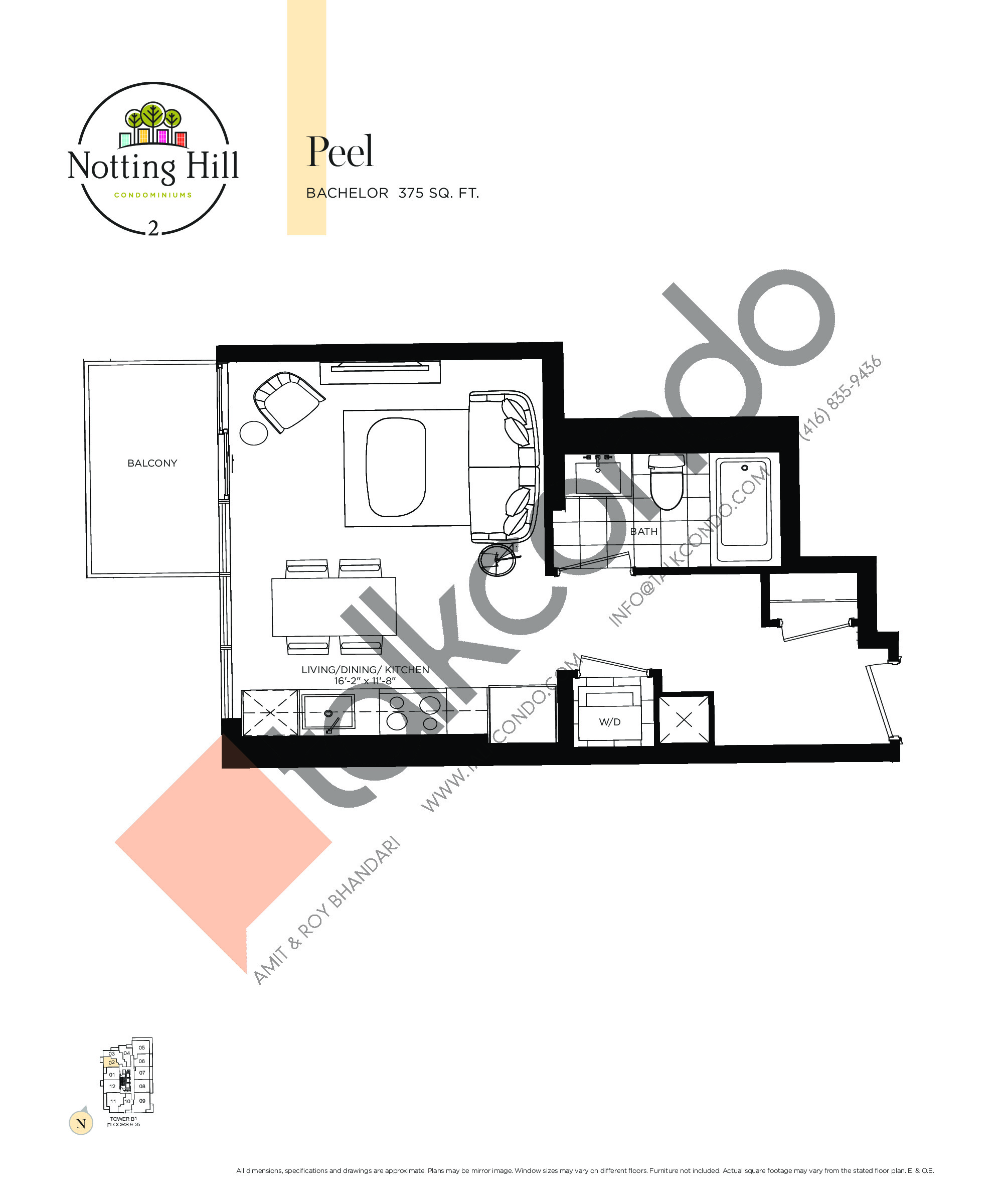 Peel Floor Plan at Notting Hill Phase 3 Condos - 375 sq.ft