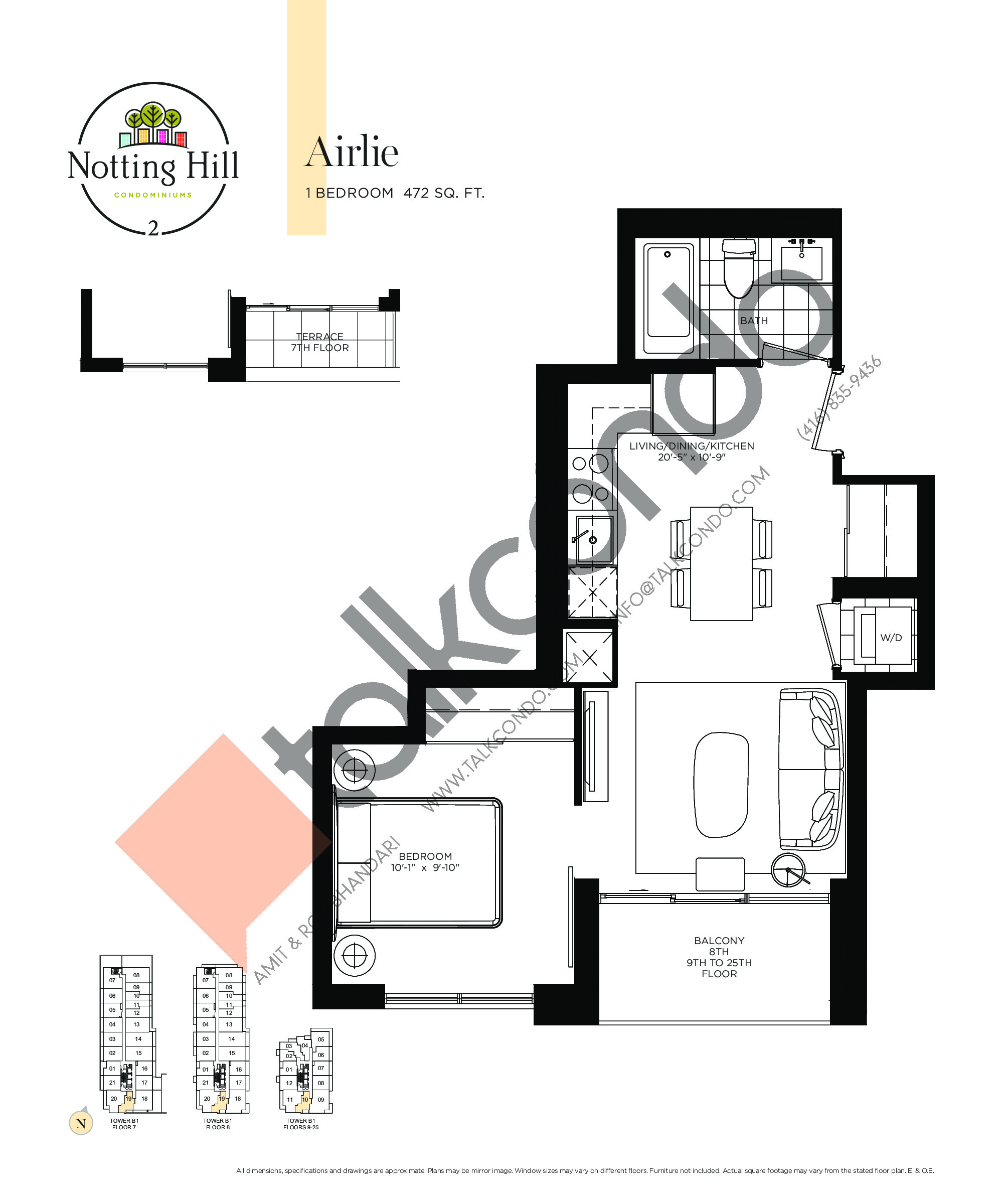 Airlie Floor Plan at Notting Hill Phase 3 Condos - 472 sq.ft
