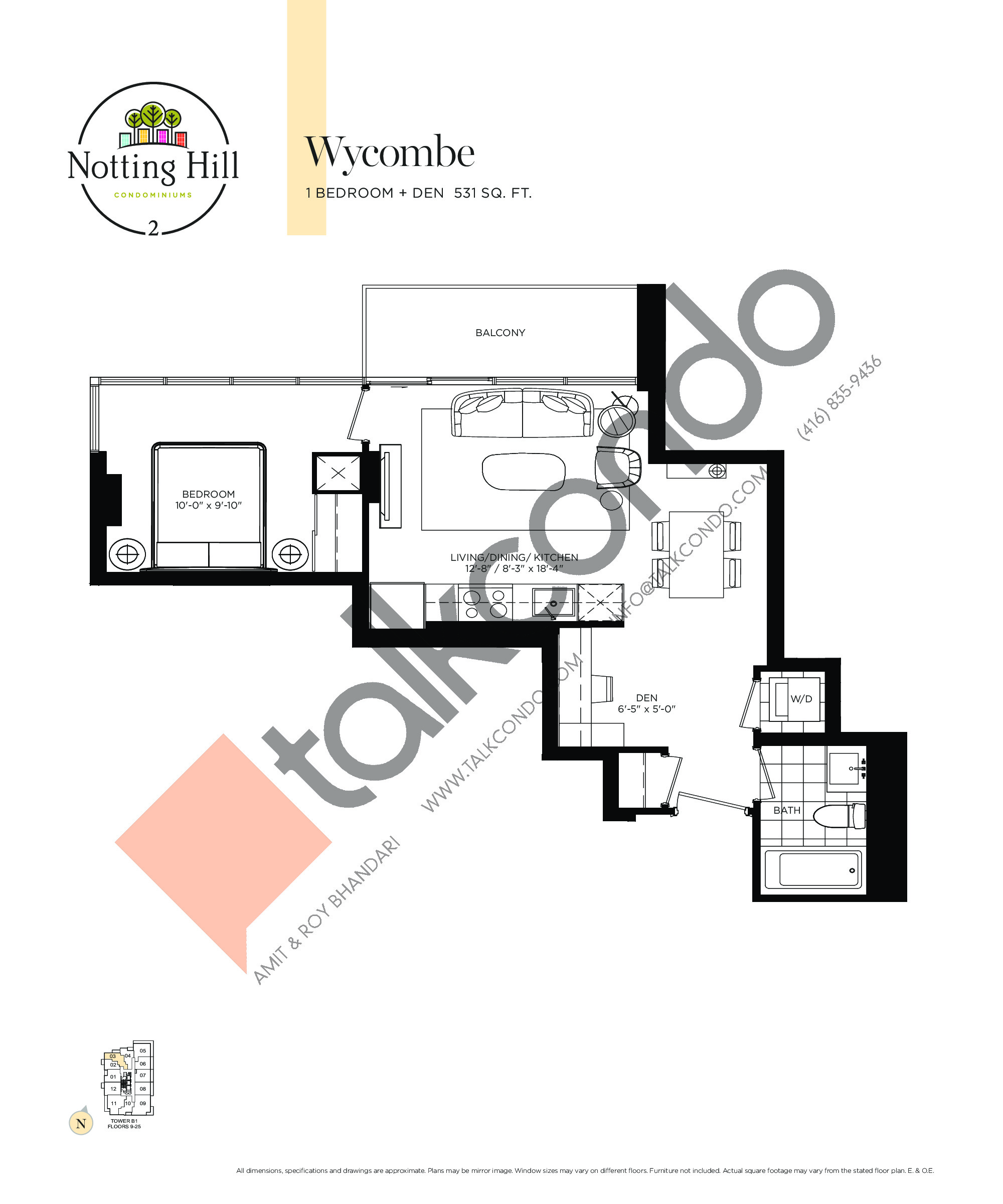 Wycombe Floor Plan at Notting Hill Phase 3 Condos - 531 sq.ft