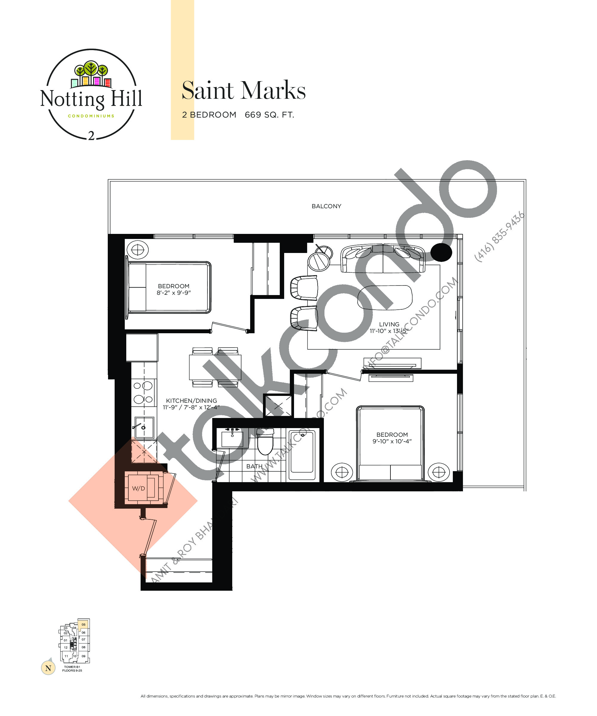 Saint Marks Floor Plan at Notting Hill Phase 3 Condos - 669 sq.ft