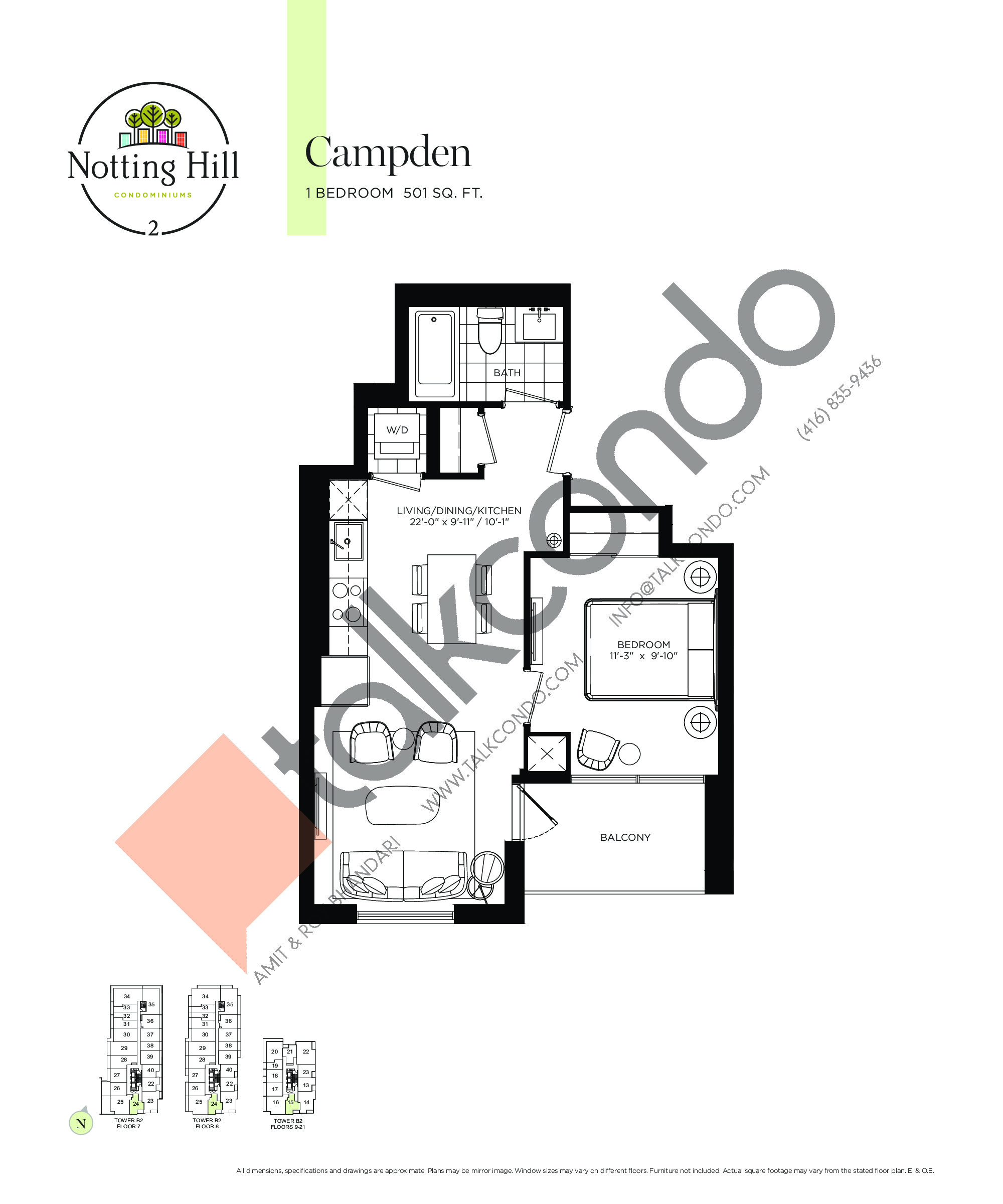 Campden Floor Plan at Notting Hill Phase 3 Condos - 501 sq.ft