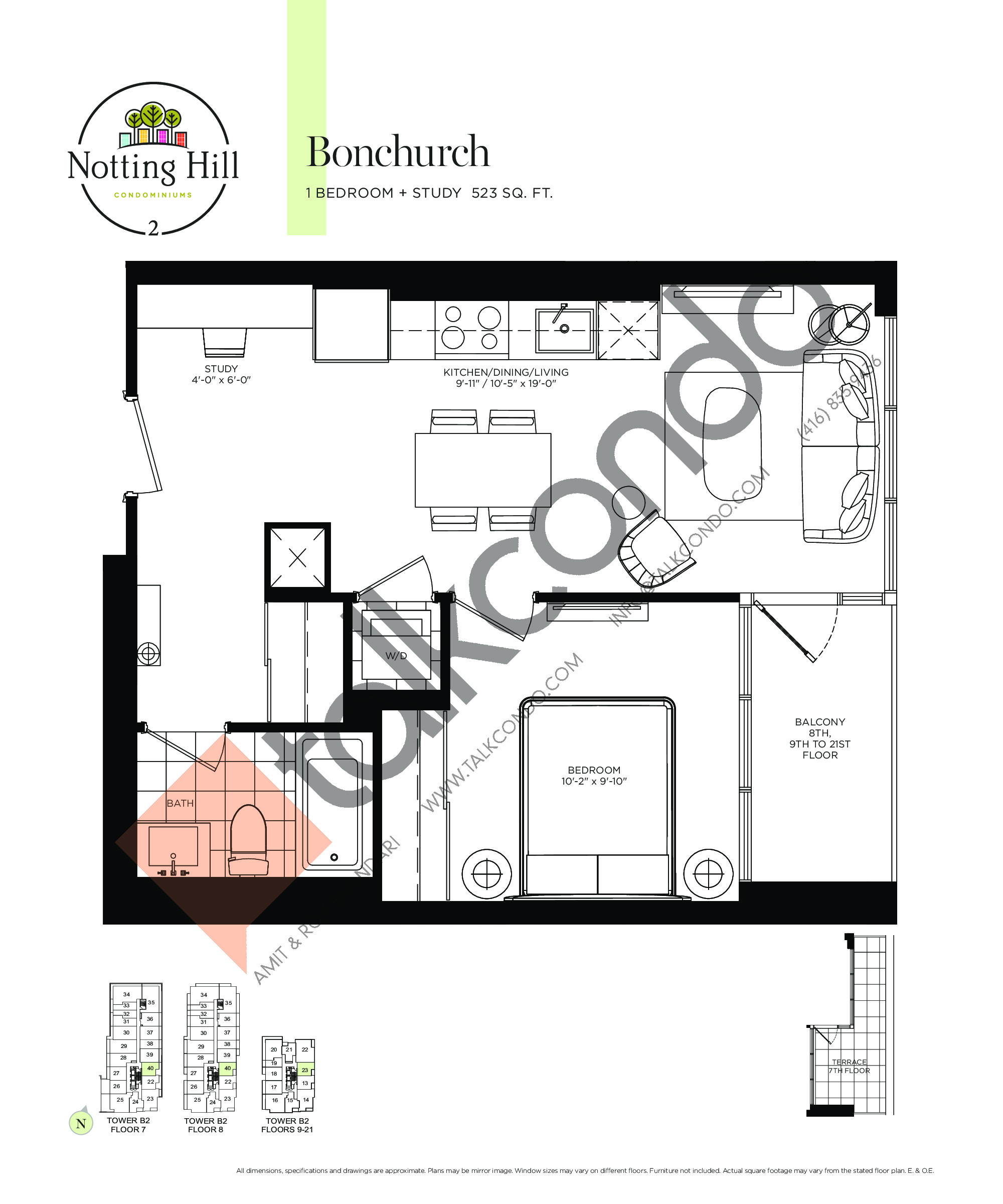 Bonchurch Floor Plan at Notting Hill Phase 3 Condos - 523 sq.ft