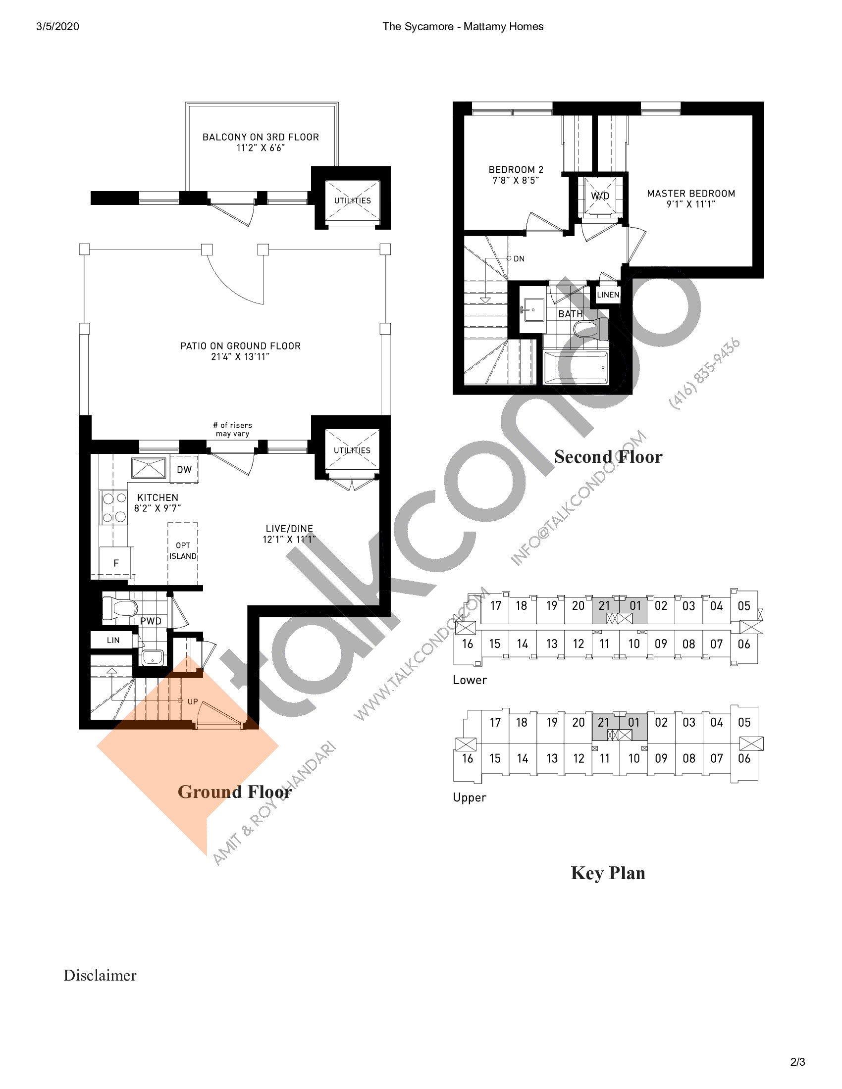 The Sycamore Floor Plan at Parkside Towns at Saturday - sq.ft