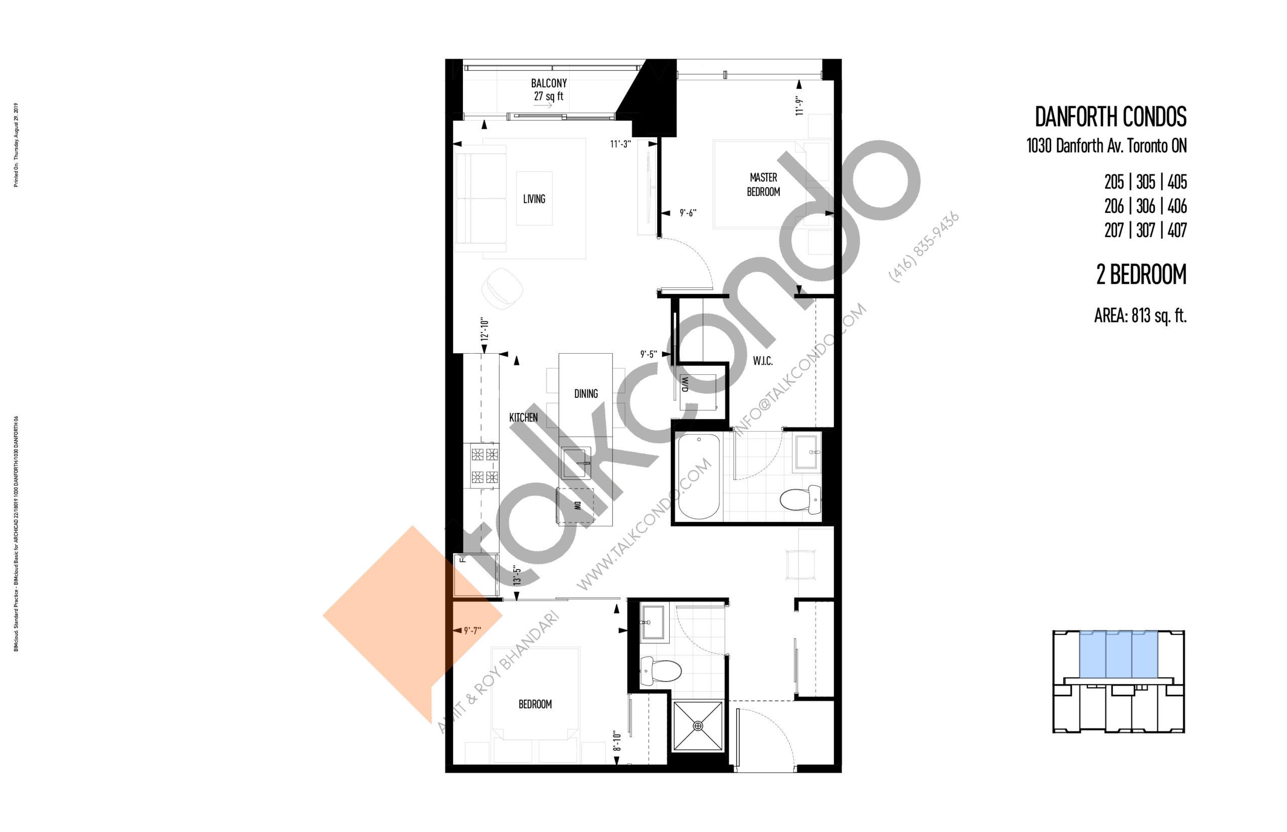 205   305   405   206   306   406   207   307   407 Floor Plan at THEO Condos - 813 sq.ft