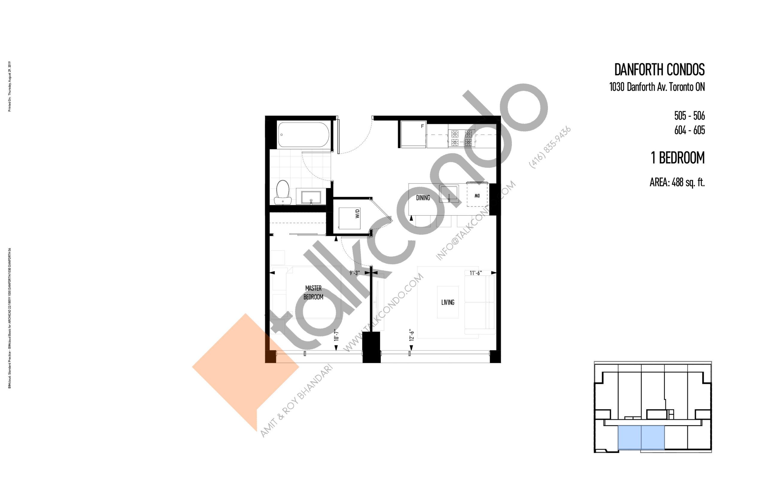 505 - 506 | 604 - 605 Floor Plan at THEO Condos - 488 sq.ft