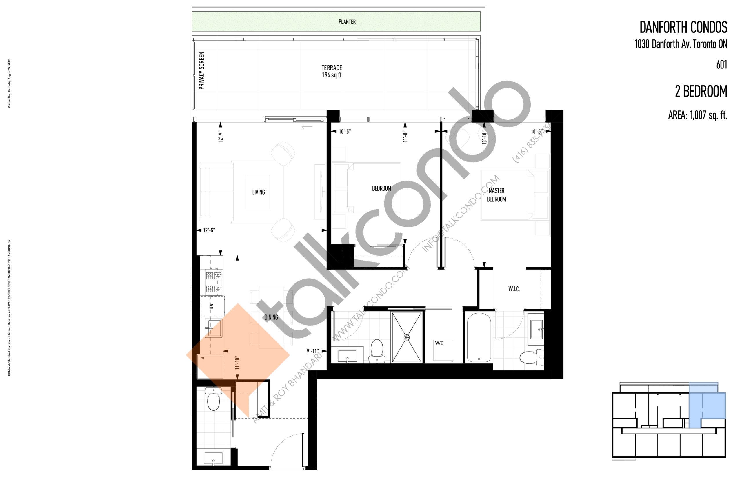 601 Floor Plan at THEO Condos - 1007 sq.ft
