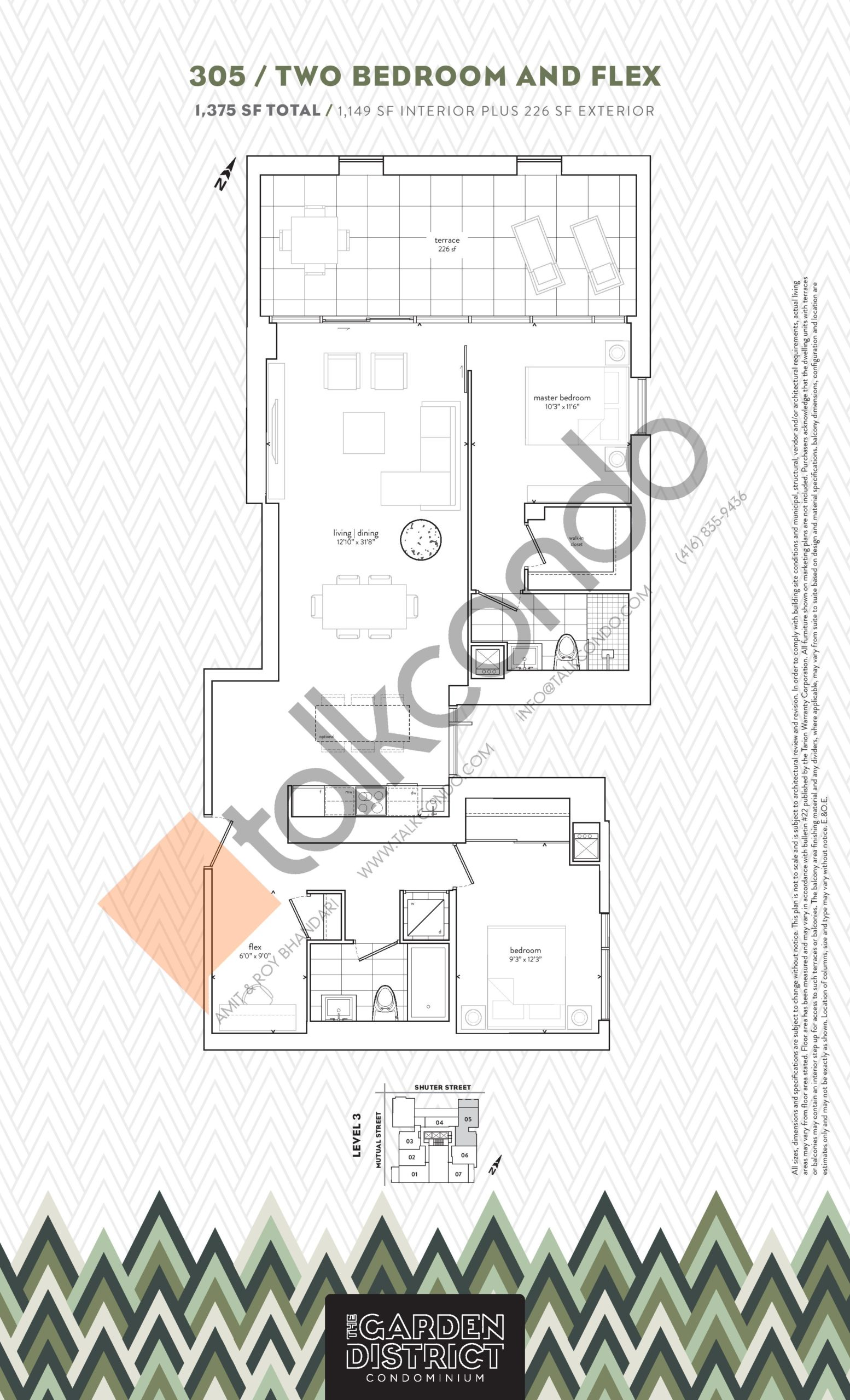 305 Floor Plan at Garden District Condos - 1149 sq.ft