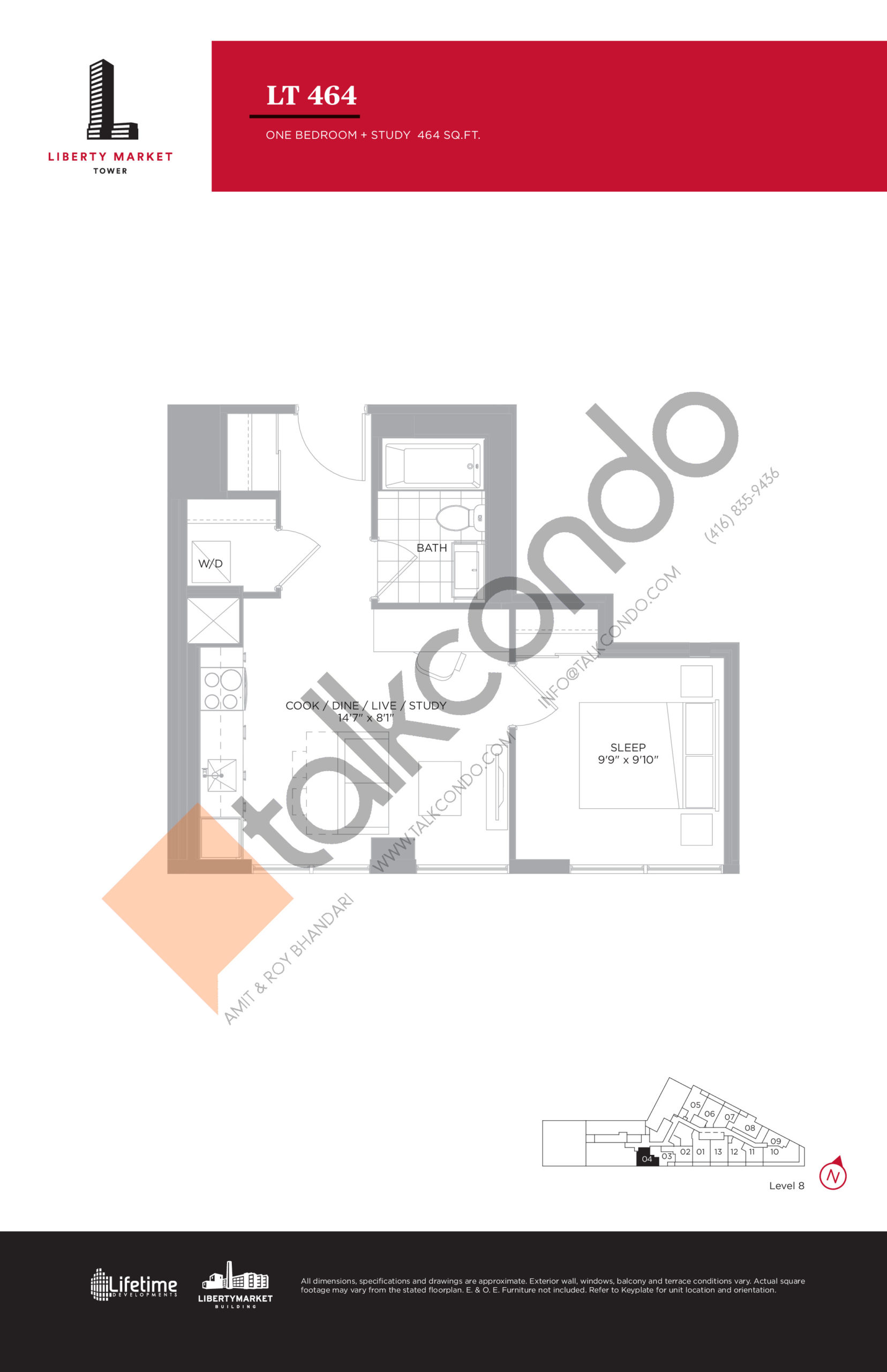LT 464 - Tower Collection Floor Plan at Liberty Market Tower Condos - 464 sq.ft