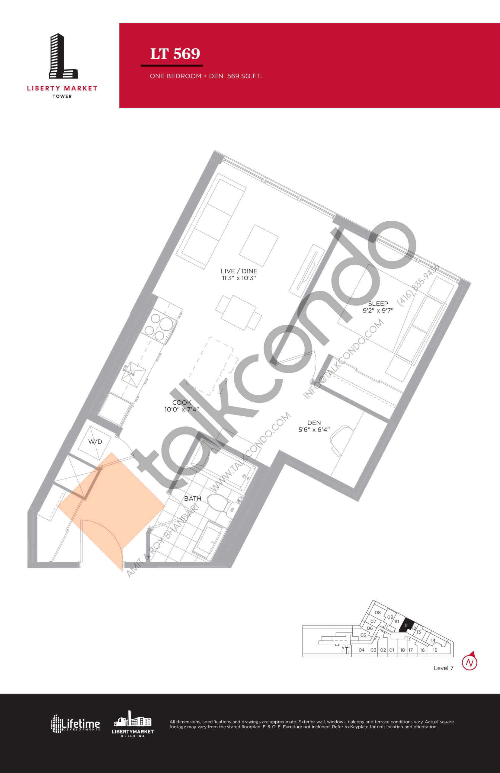 LT 569 - Tower Collection Floor Plan at Liberty Market Tower Condos - 569 sq.ft