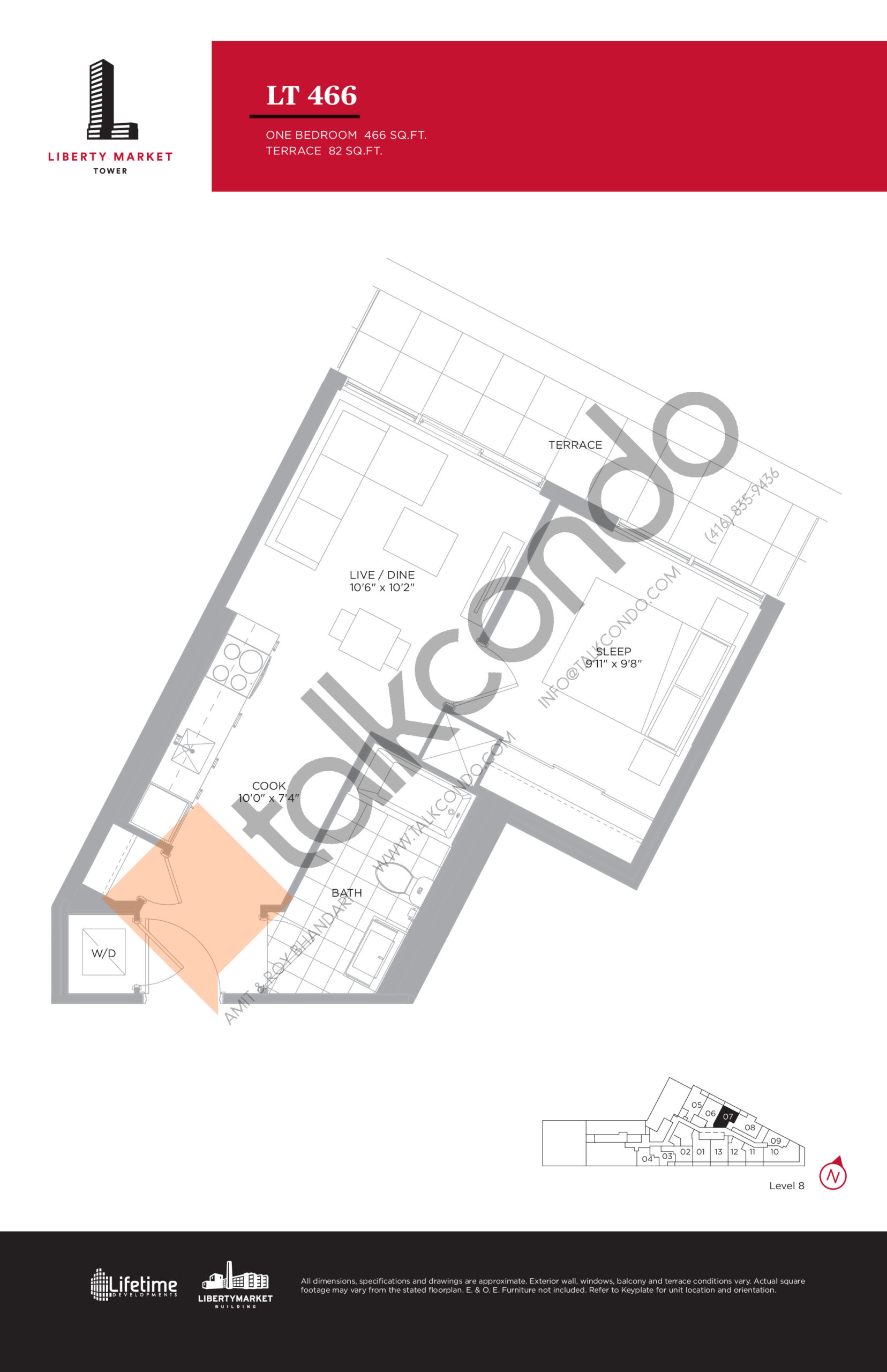 LT 466 - Terrace Collection Floor Plan at Liberty Market Tower Condos - 466 sq.ft