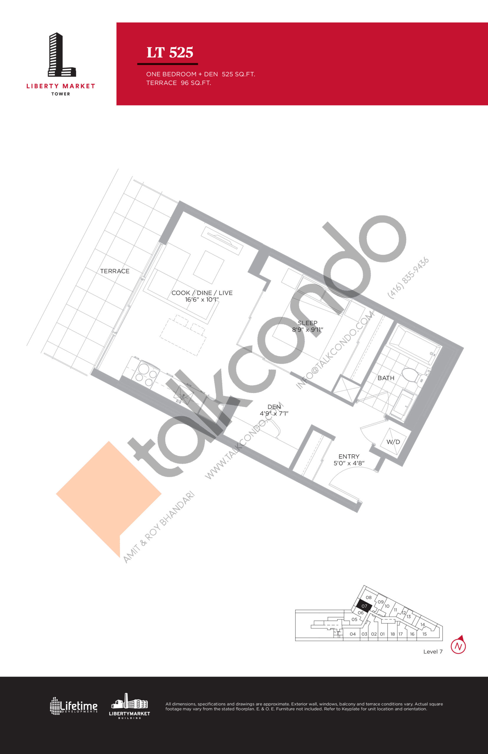 LT 525 - Terrace Collection Floor Plan at Liberty Market Tower Condos - 525 sq.ft