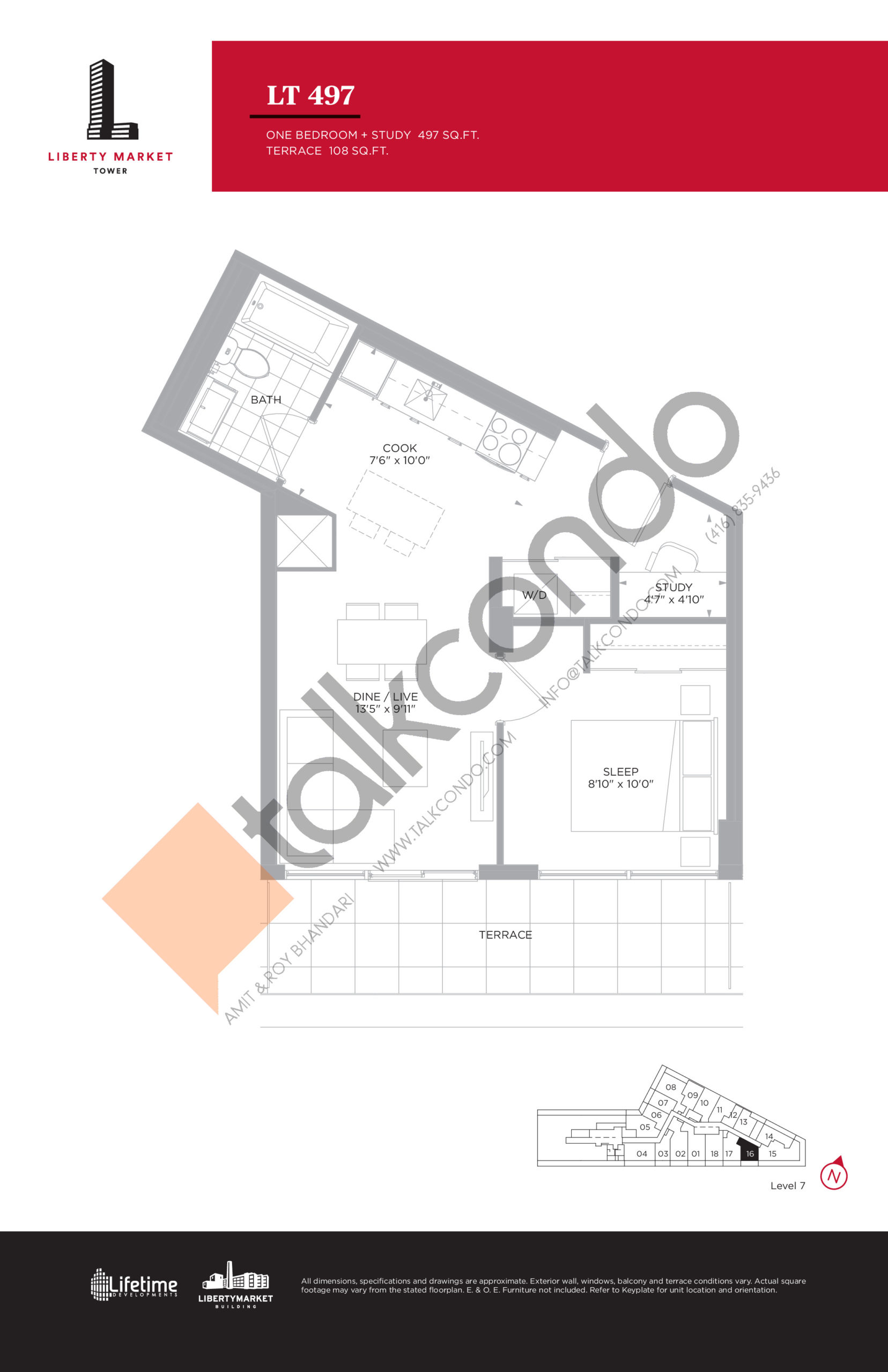 LT 497 - Terrace Collection Floor Plan at Liberty Market Tower Condos - 497 sq.ft