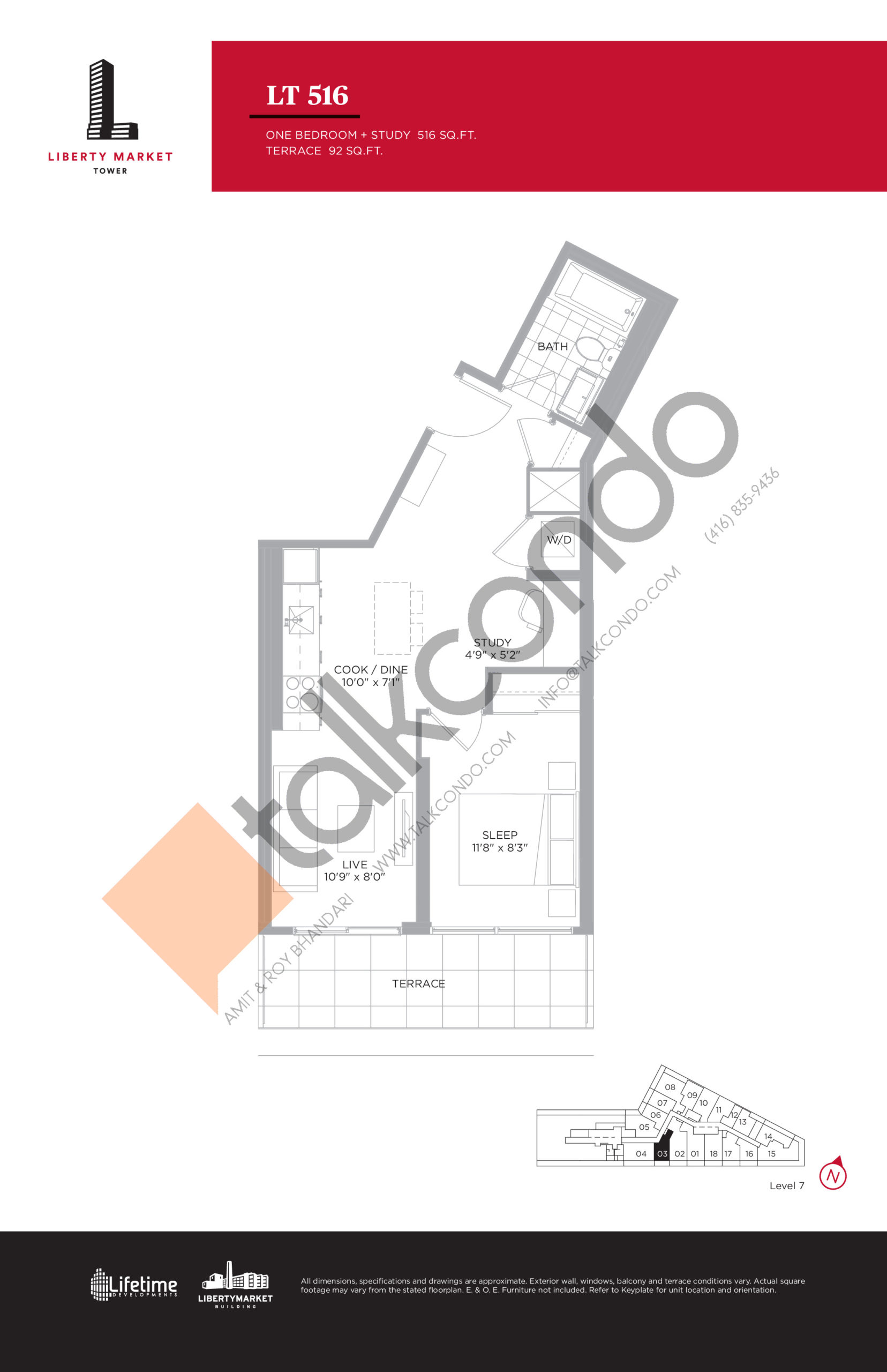 LT 516 - Terrace Collection Floor Plan at Liberty Market Tower Condos - 516 sq.ft