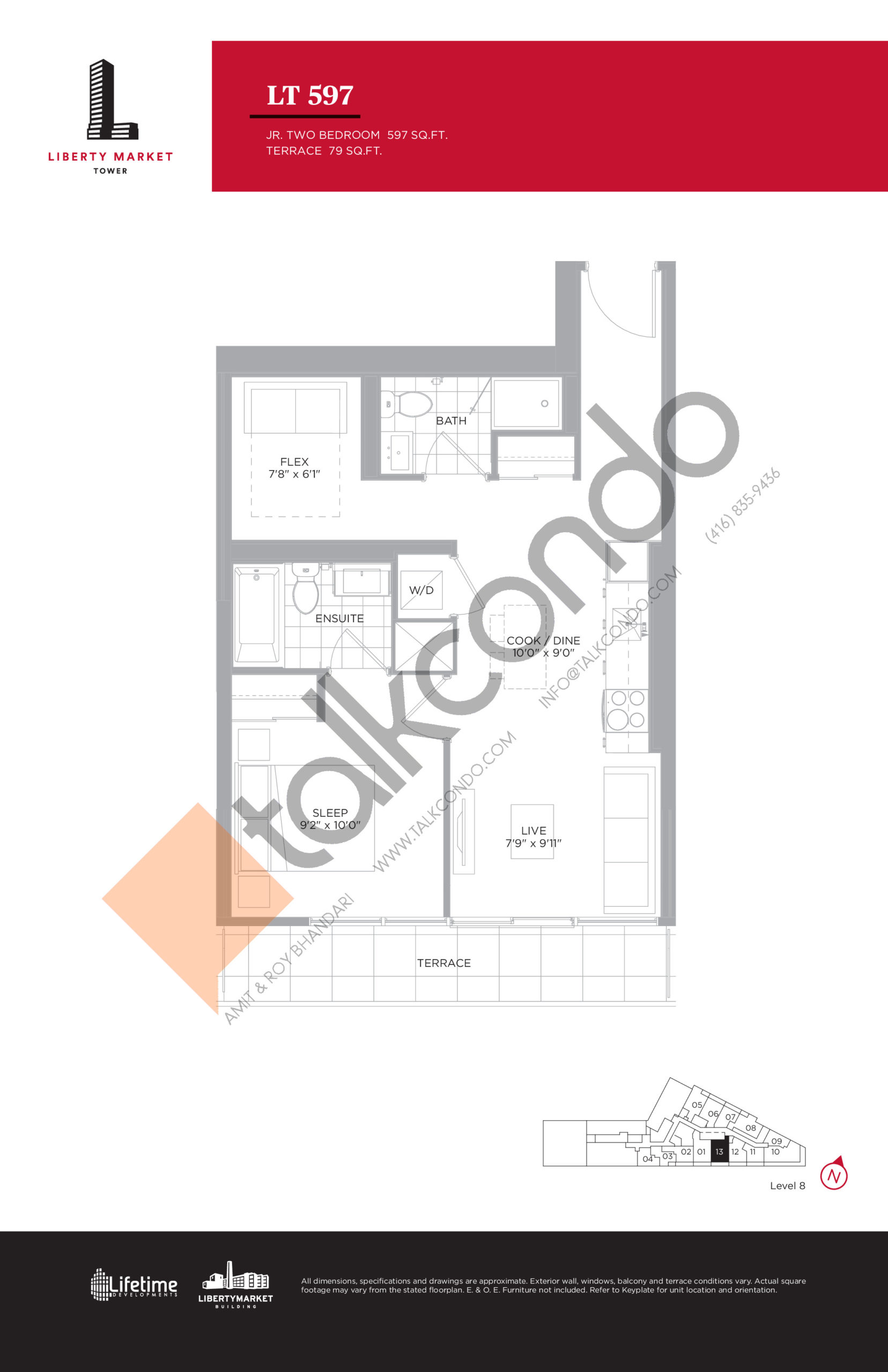LT 597 - Terrace Collection Floor Plan at Liberty Market Tower Condos - 597 sq.ft