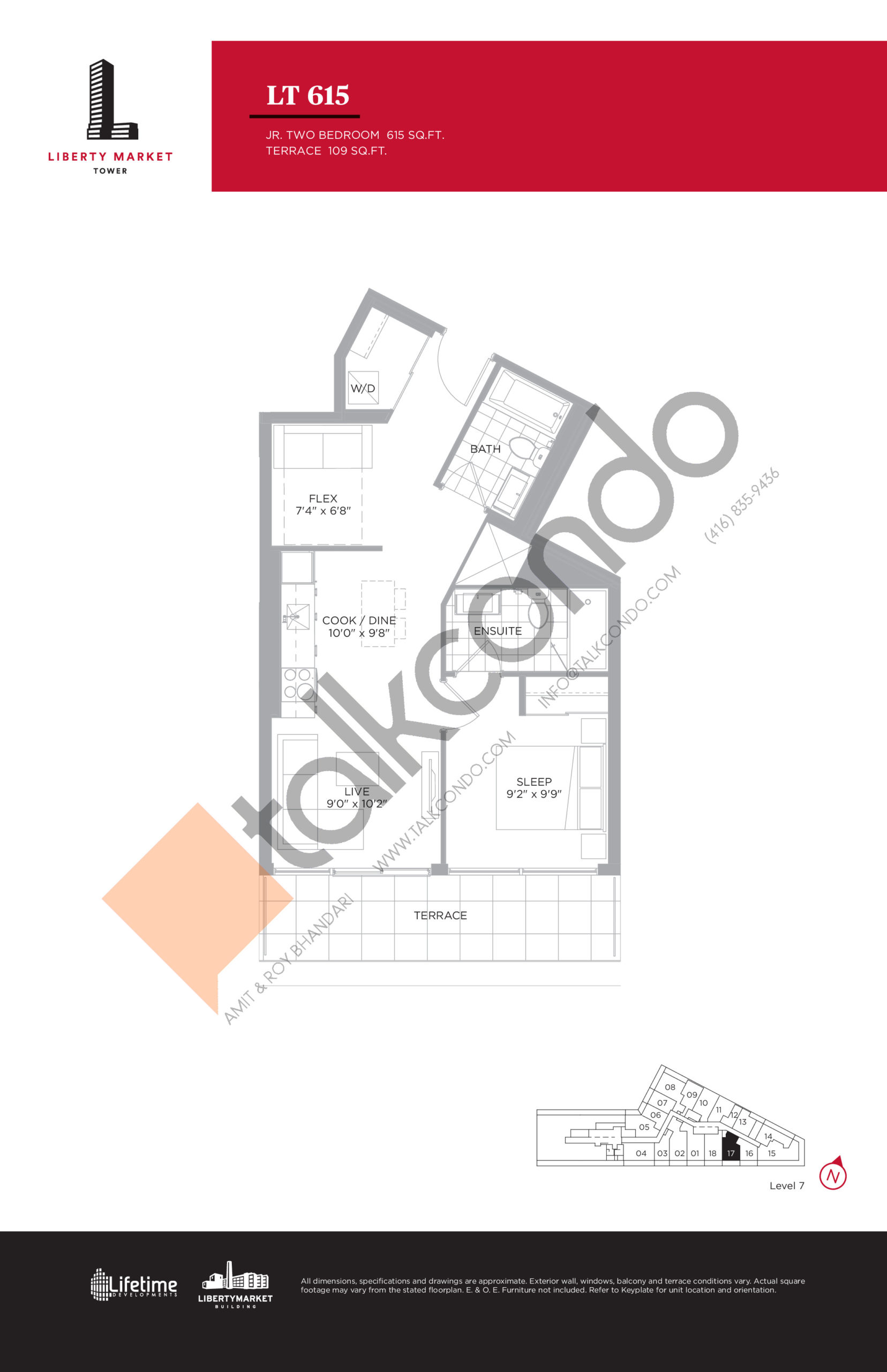 LT 615 - Terrace Collection Floor Plan at Liberty Market Tower Condos - 615 sq.ft