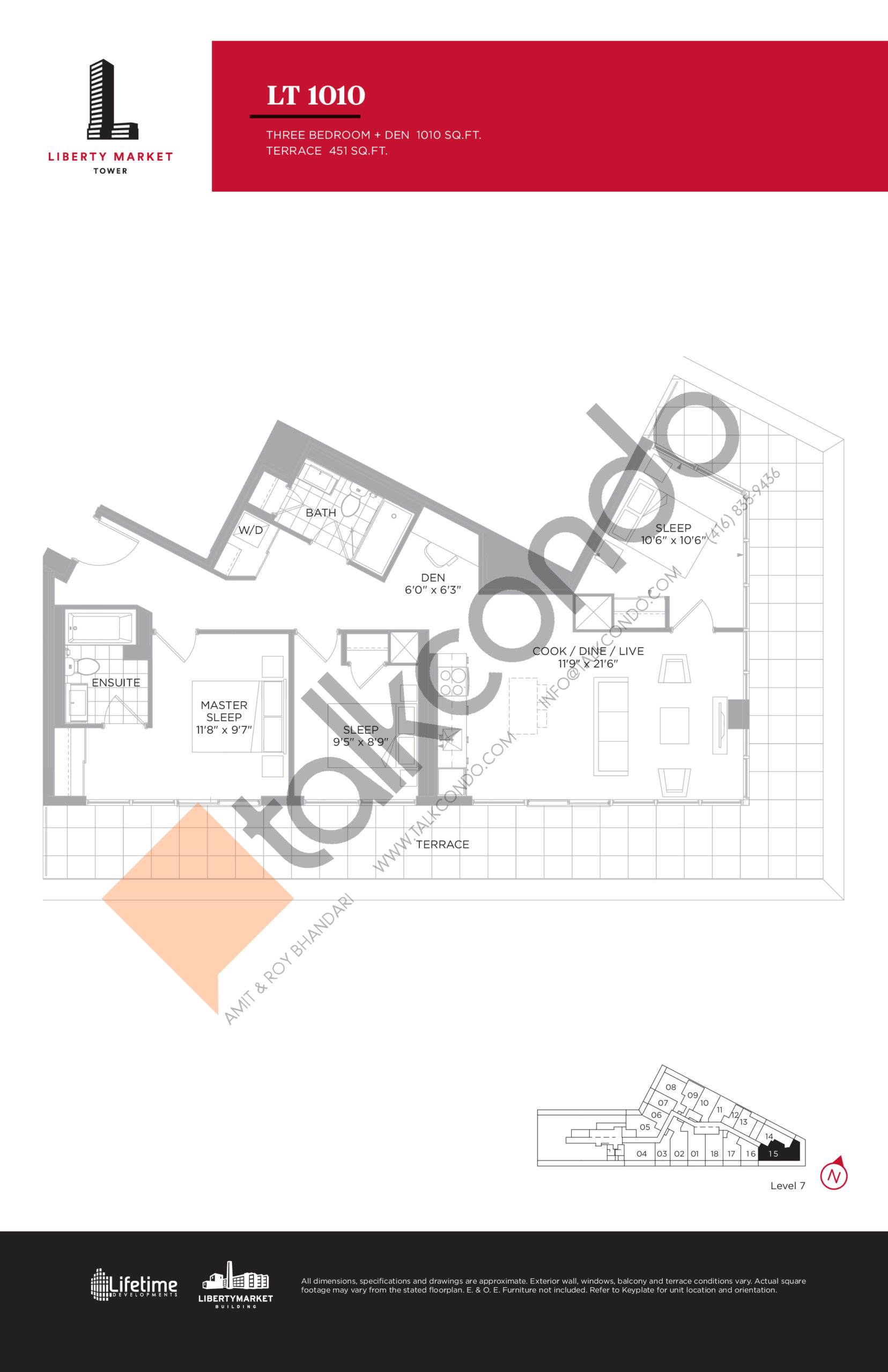 LT 1010 - Terrace Collection Floor Plan at Liberty Market Tower Condos - 1010 sq.ft