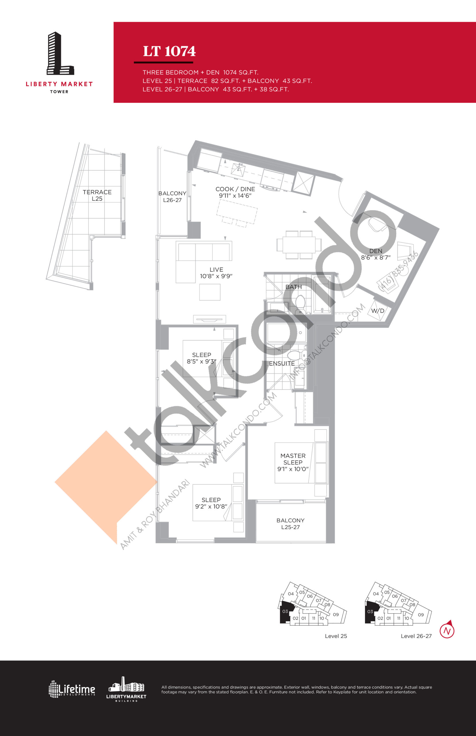 LT 1074 - Tower Collection Floor Plan at Liberty Market Tower Condos - 1074 sq.ft