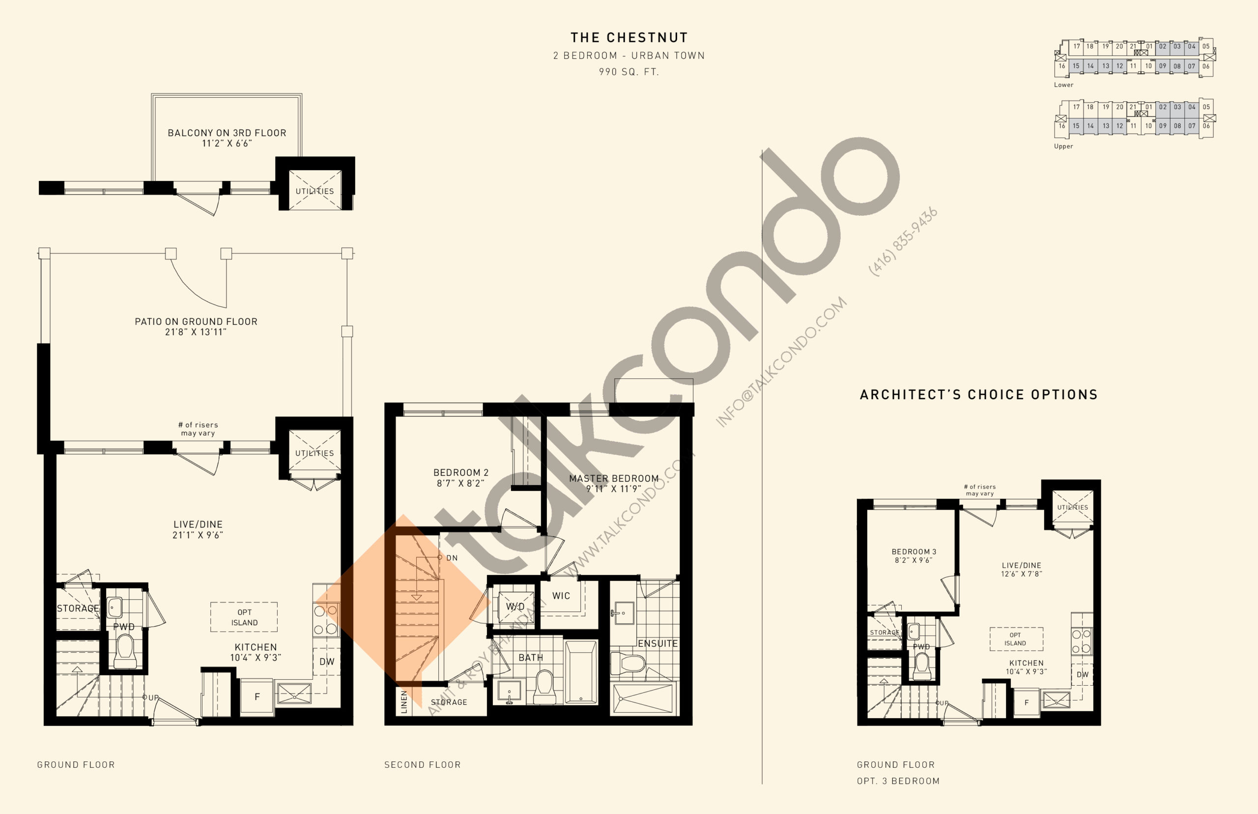 The Chestnut Floor Plan at Parkside Towns at Saturday - 990 sq.ft