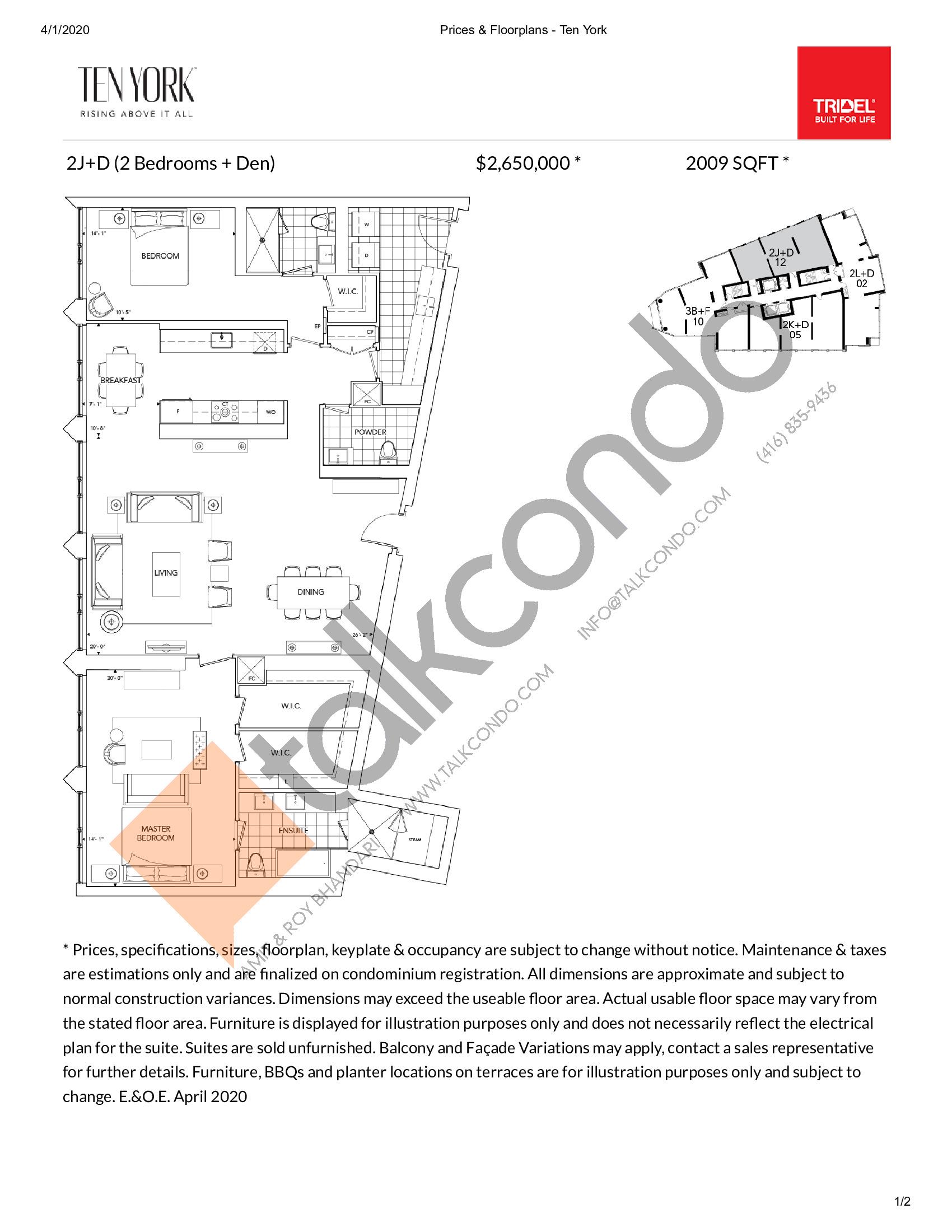 2J+D Floor Plan at Ten York Condos - 2009 sq.ft
