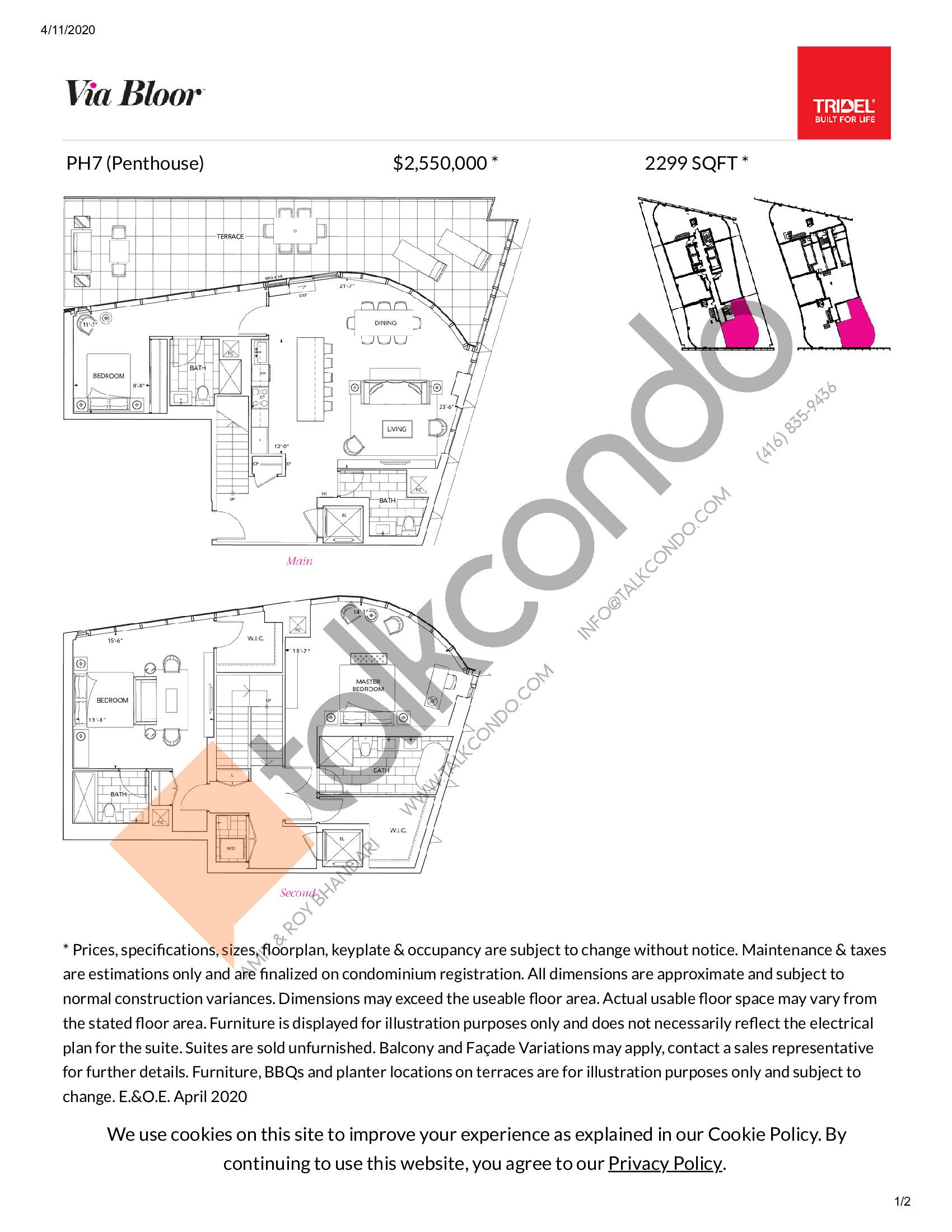 PH7 Floor Plan at Via Bloor Condos - 2299 sq.ft