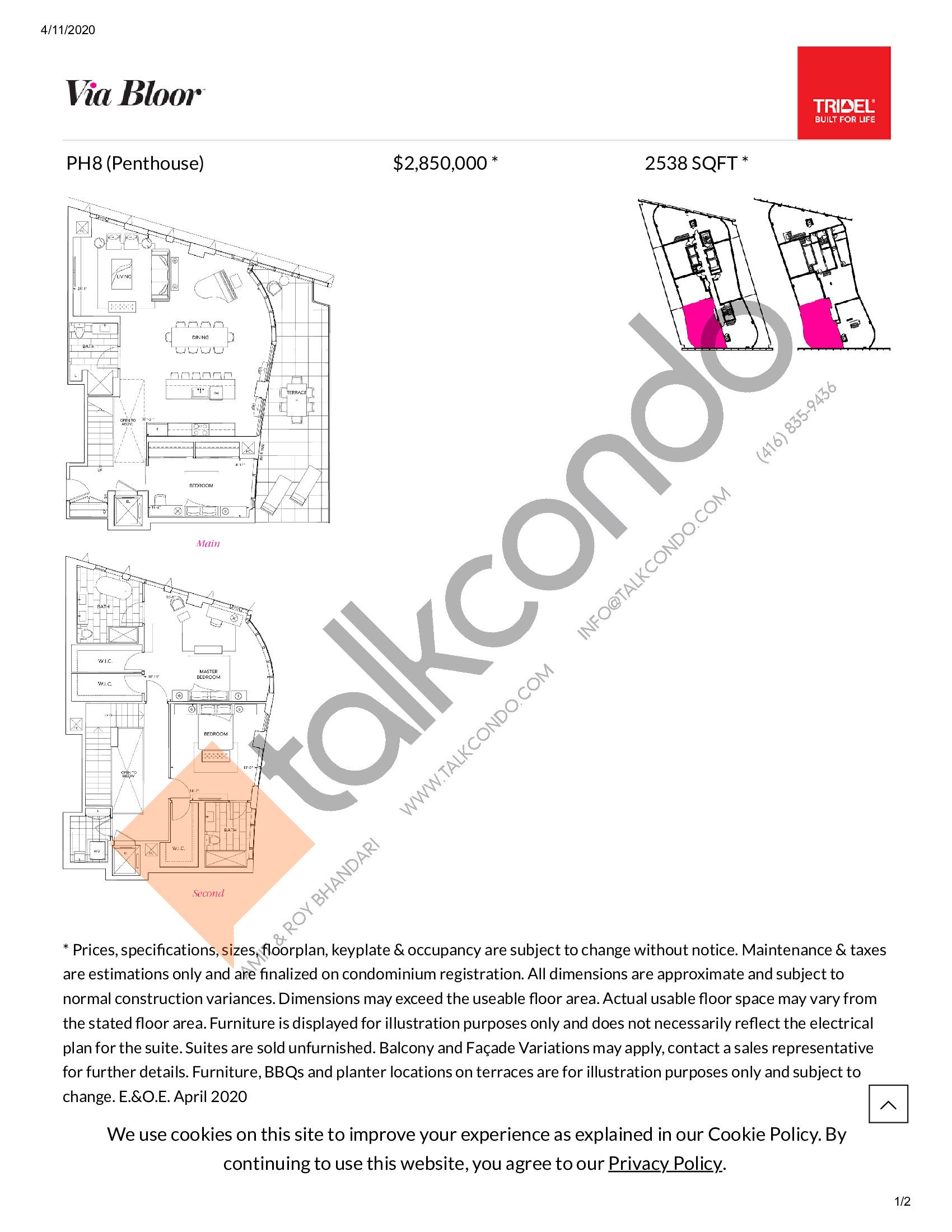 PH8 Floor Plan at Via Bloor Condos - 2538 sq.ft
