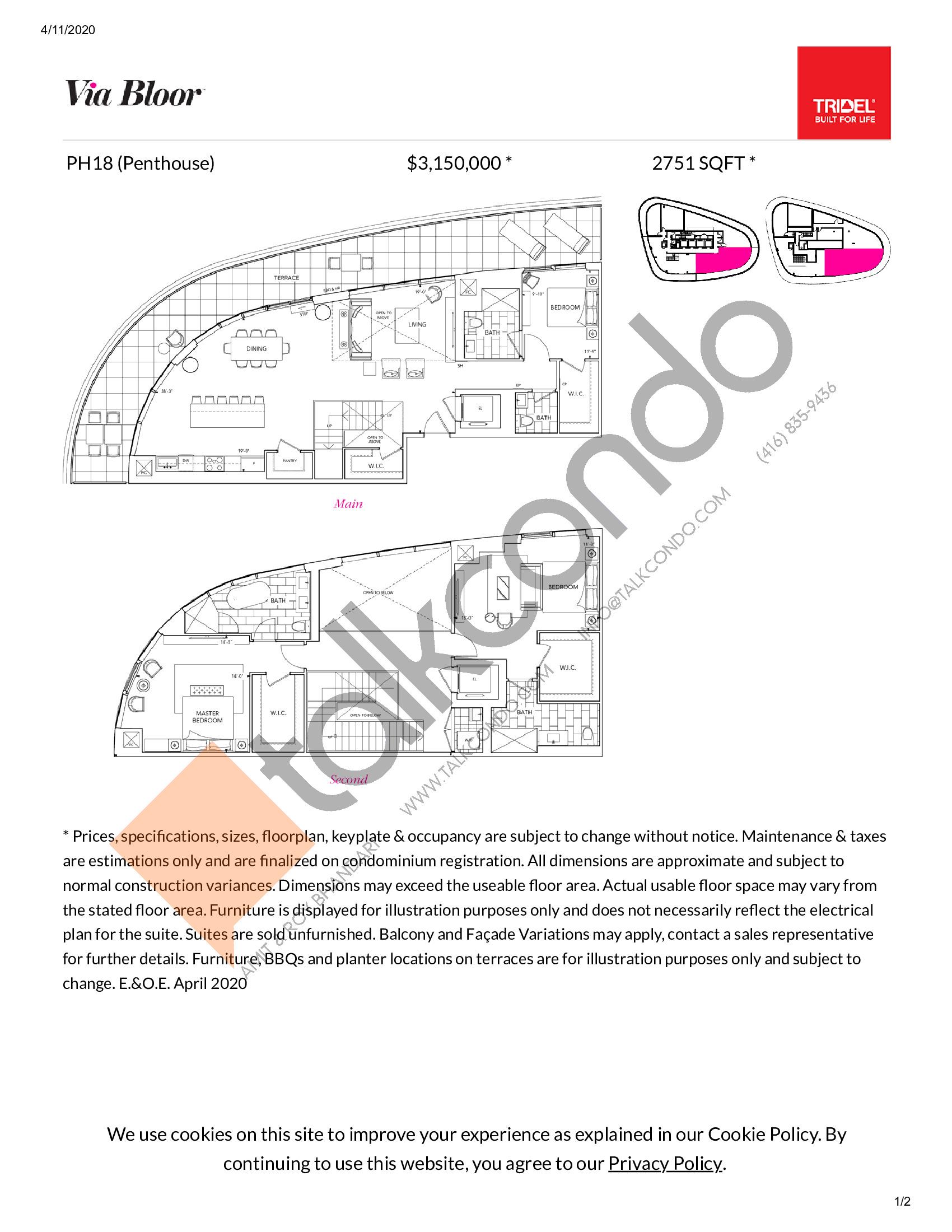 PH18 Floor Plan at Via Bloor Condos - 2751 sq.ft