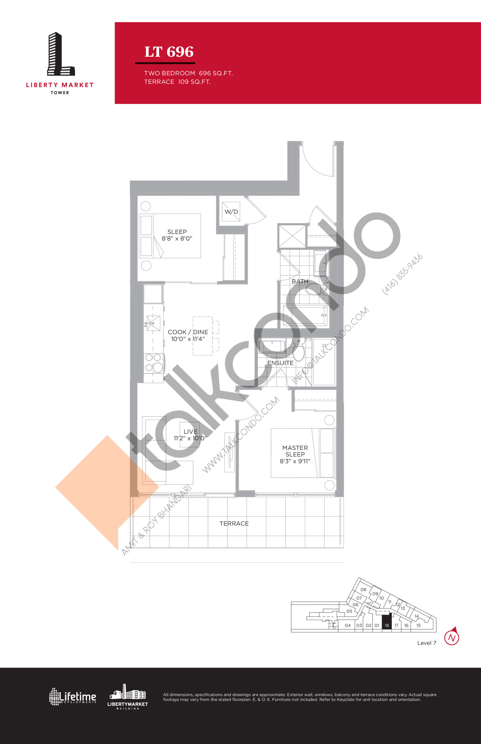 LT 696 - Terrace Collection Floor Plan at Liberty Market Tower Condos - 696 sq.ft
