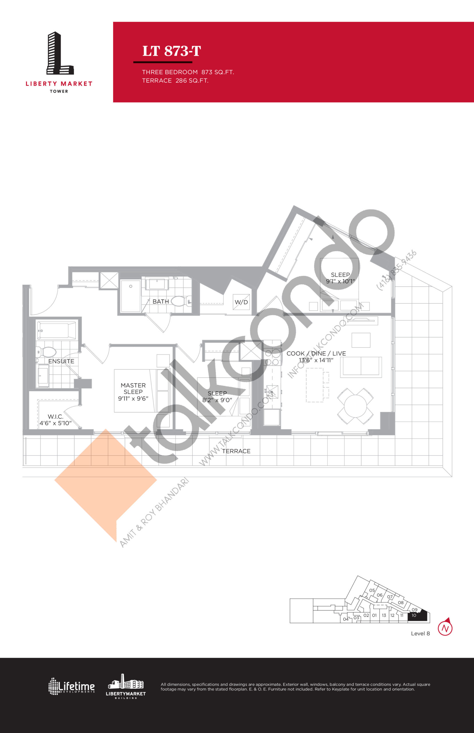 LT 873-T - Terrace Collection Floor Plan at Liberty Market Tower Condos - 873 sq.ft
