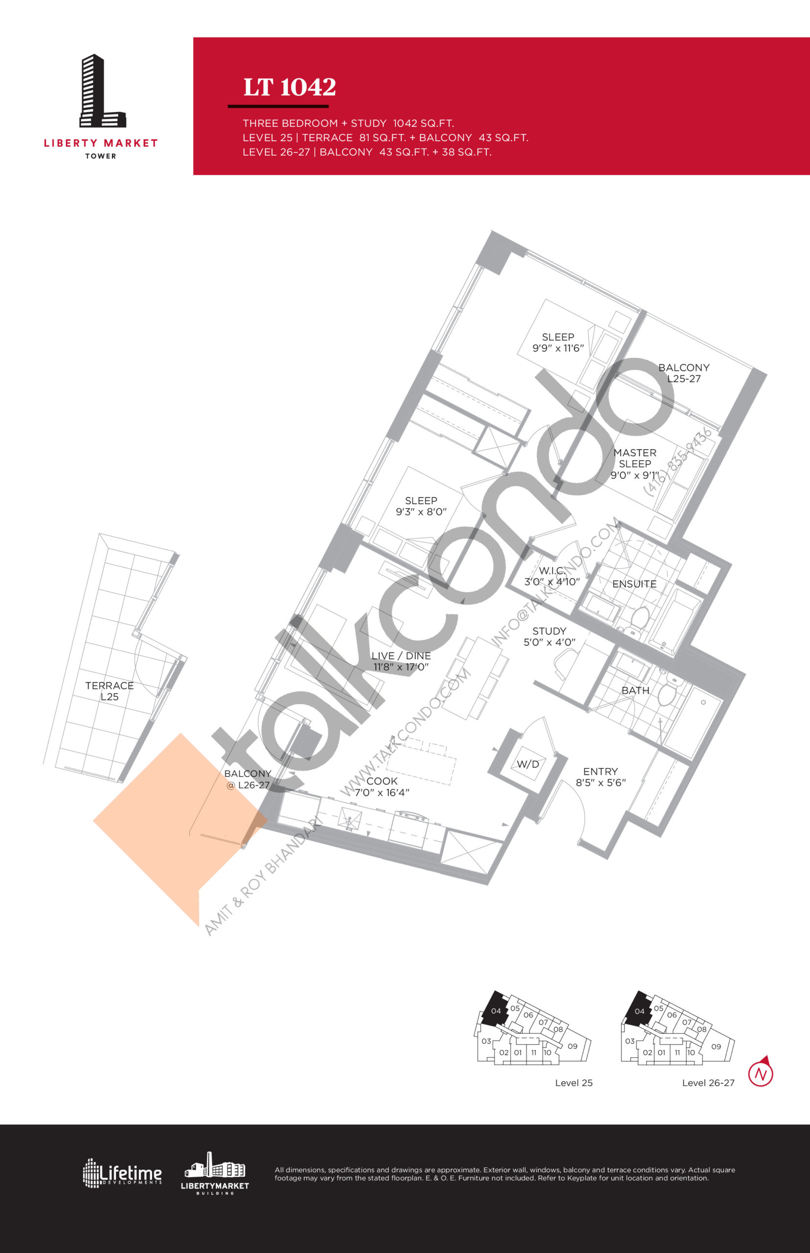 LT 1042 - Tower Collection Floor Plan at Liberty Market Tower Condos - 1042 sq.ft